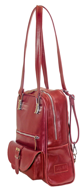 Multifunkční batůžek v červené barvě 11-10237-red - bok