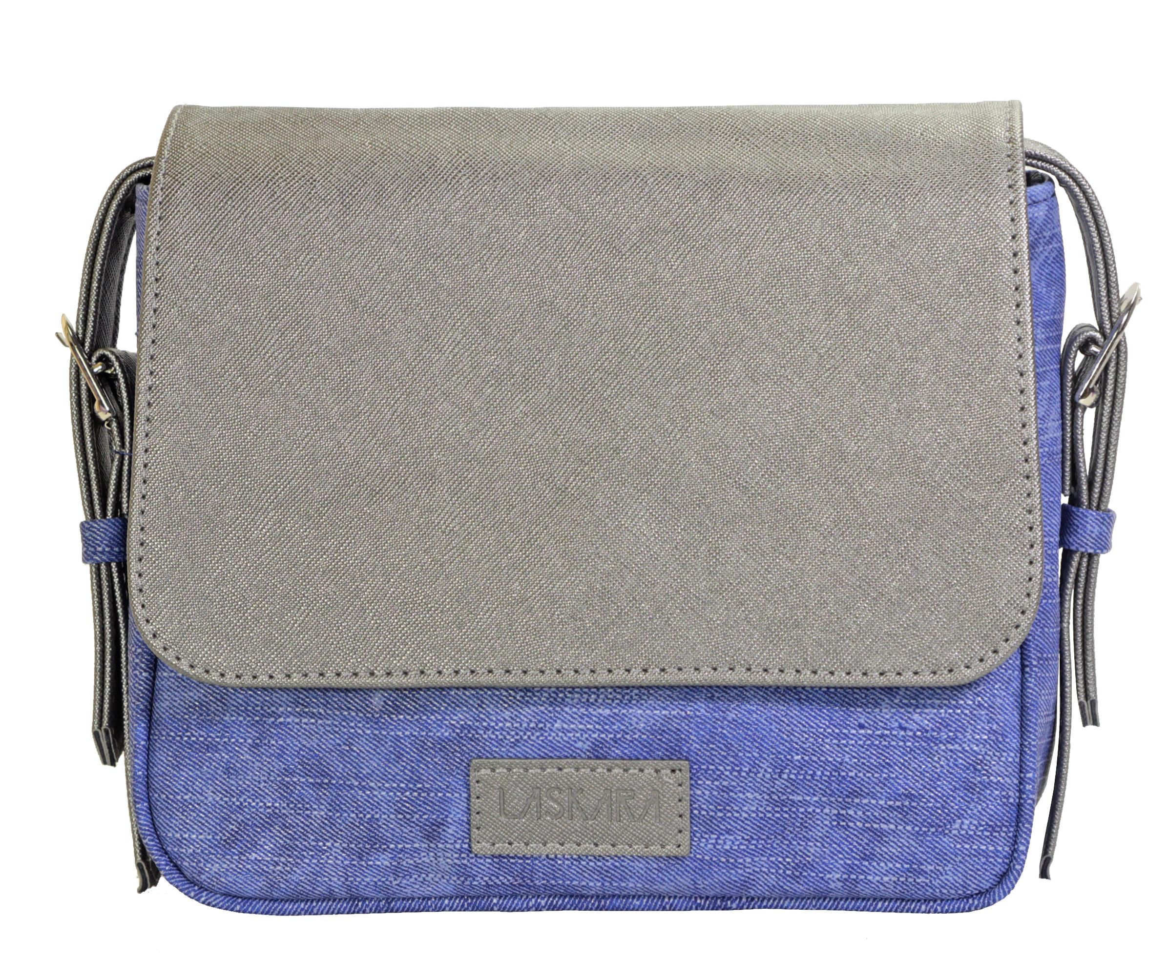 Crossbody kabelka v džínovém provedení 11-10245-silver-denim-blue