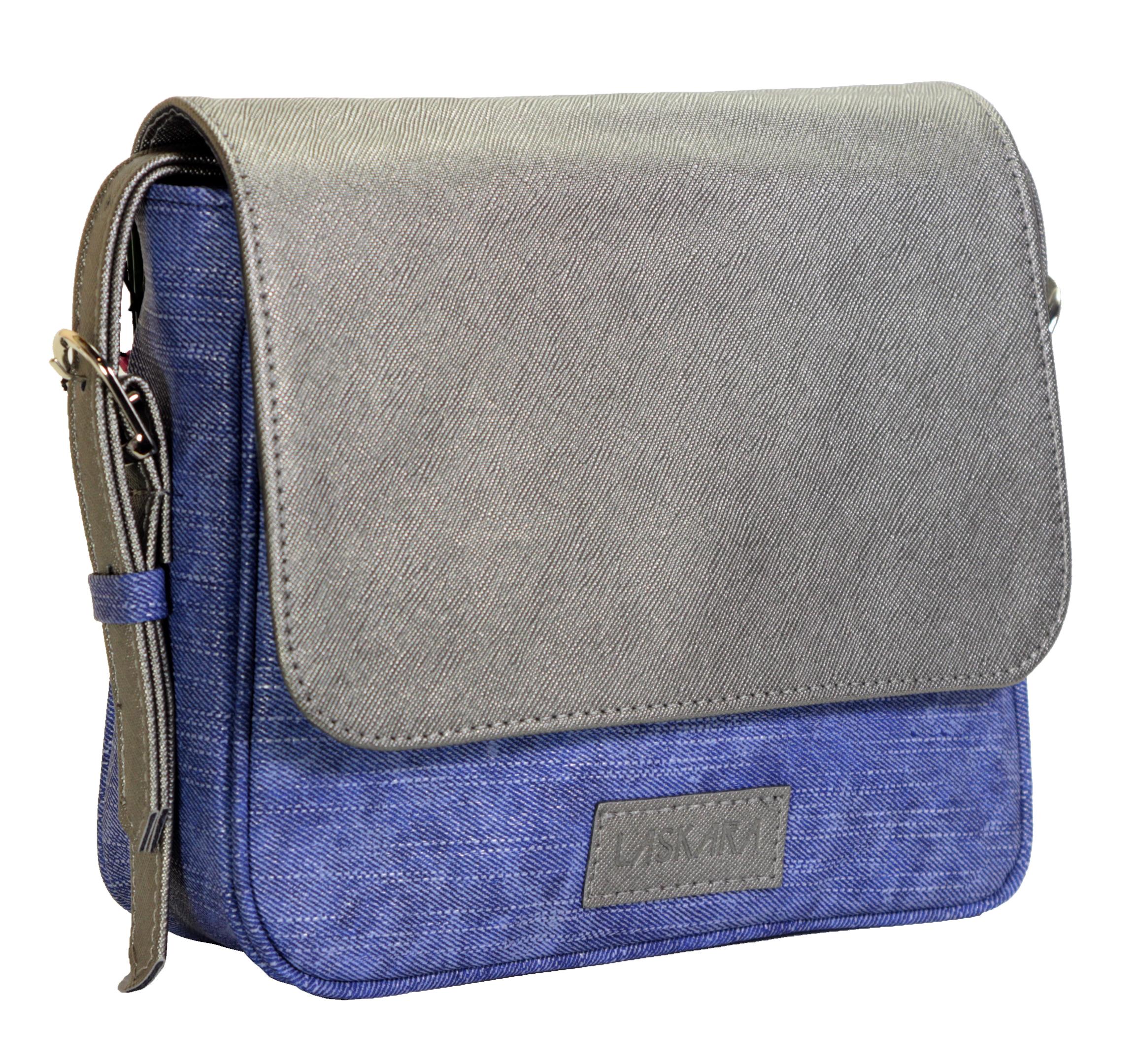 Crossbody kabelka v džínovém provedení 11-10245-silver-denim-blue - boční pohled