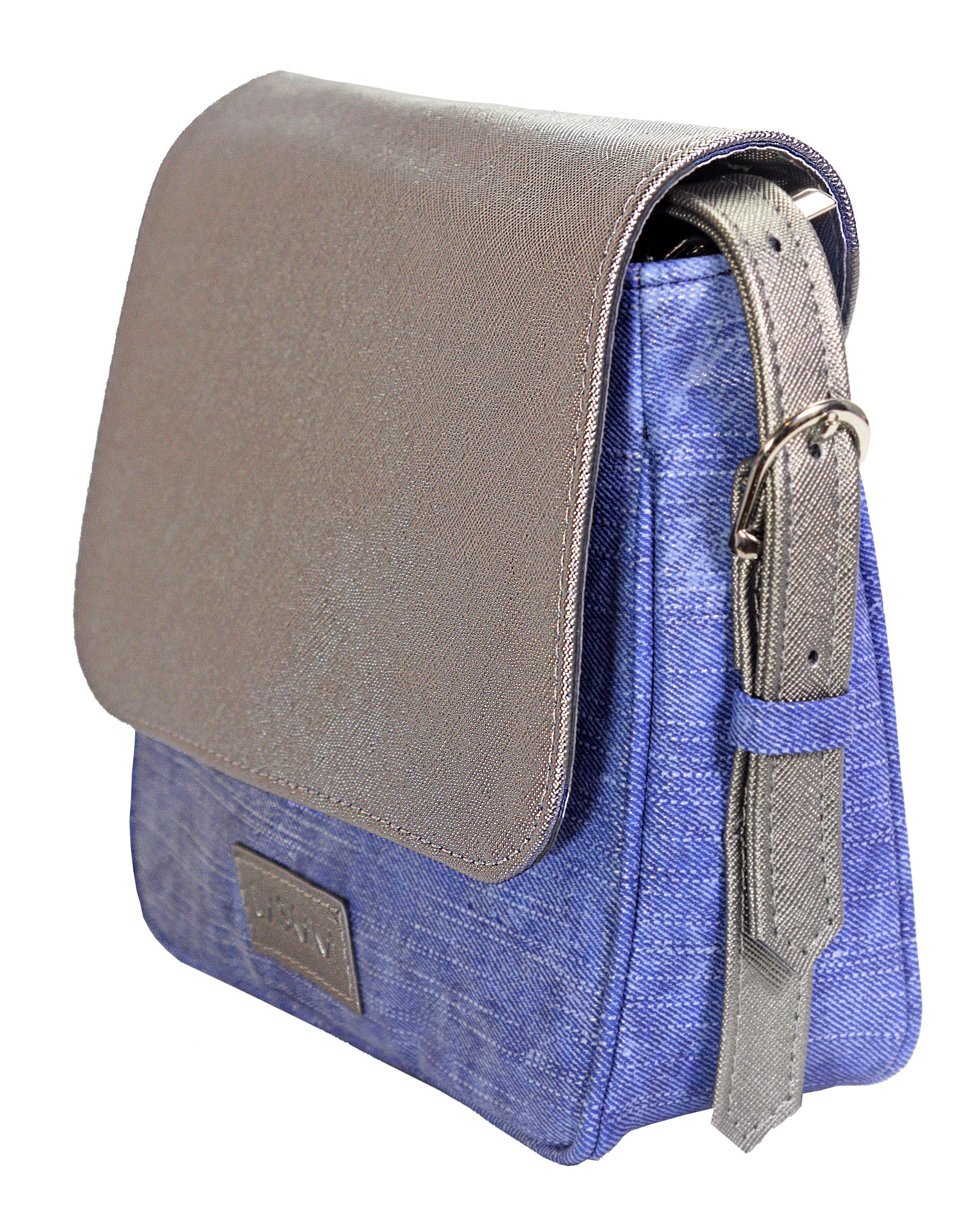 Crossbody kabelka v džínovém provedení 11-10245-silver-denim-blue - bok