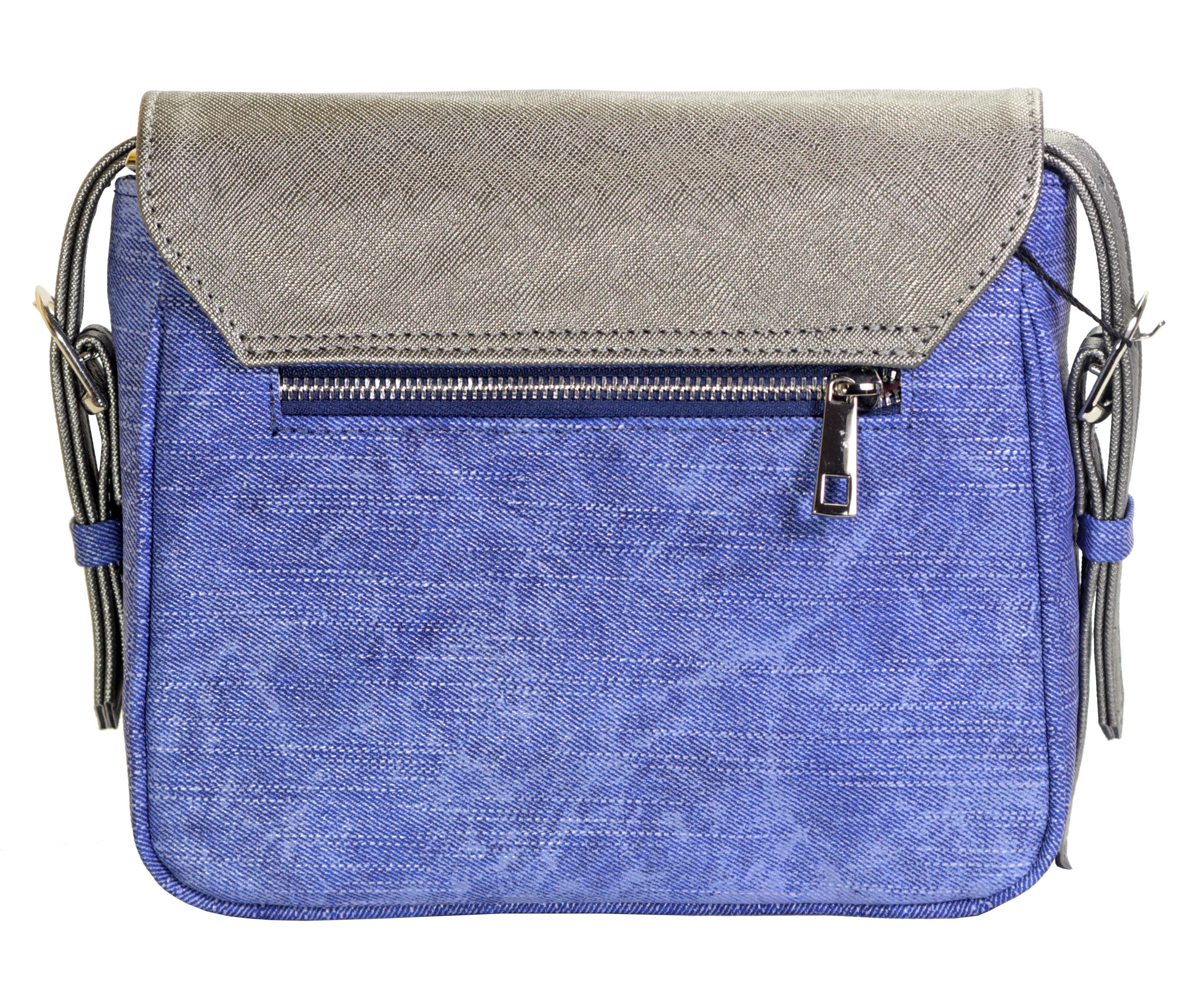 Crossbody kabelka v džínovém provedení 11-10245-silver-denim-blue - zadní pohled