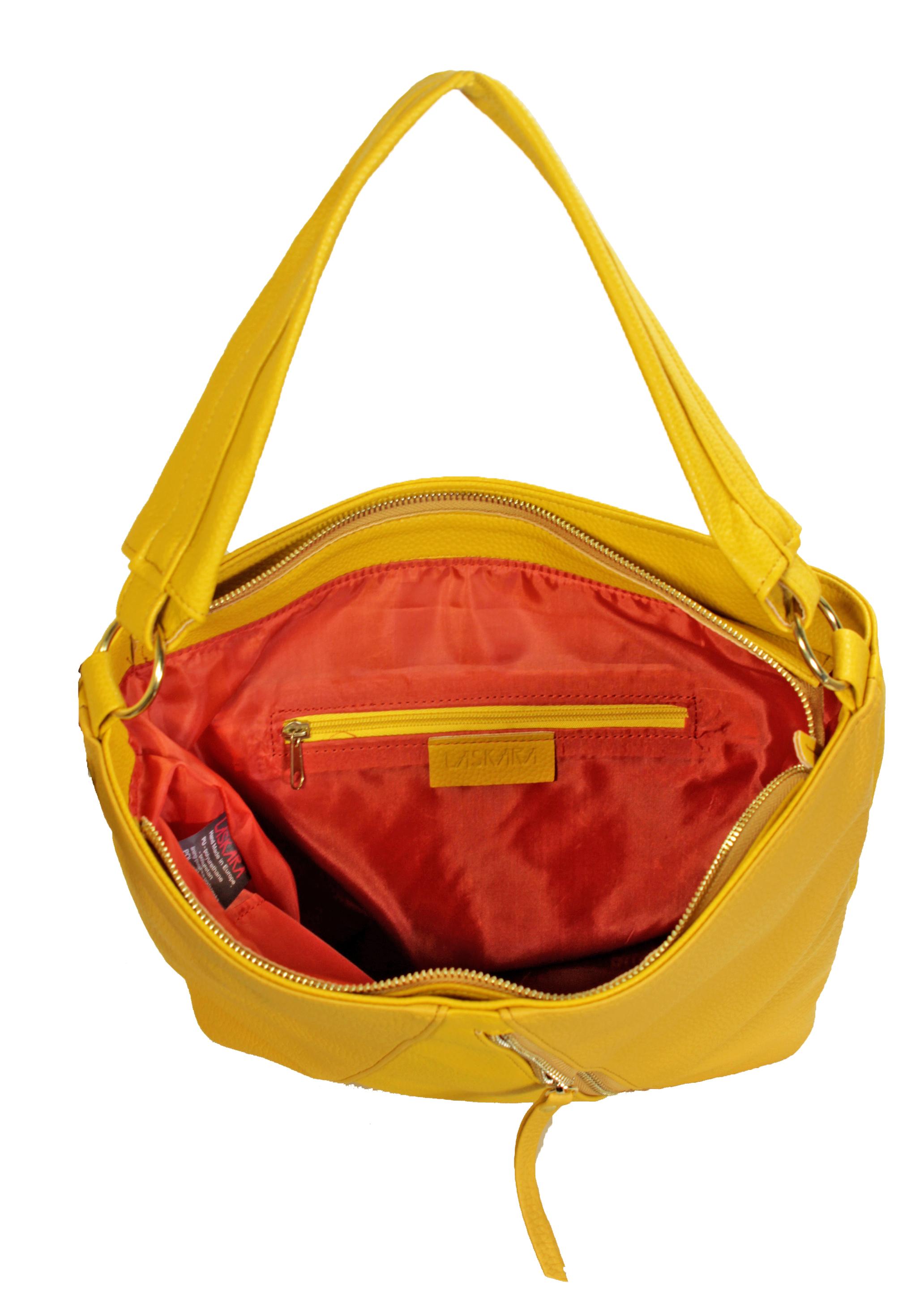 Zářivě žlutá kabelka 11-10252-yellow-mustard - vnitřní rozložení