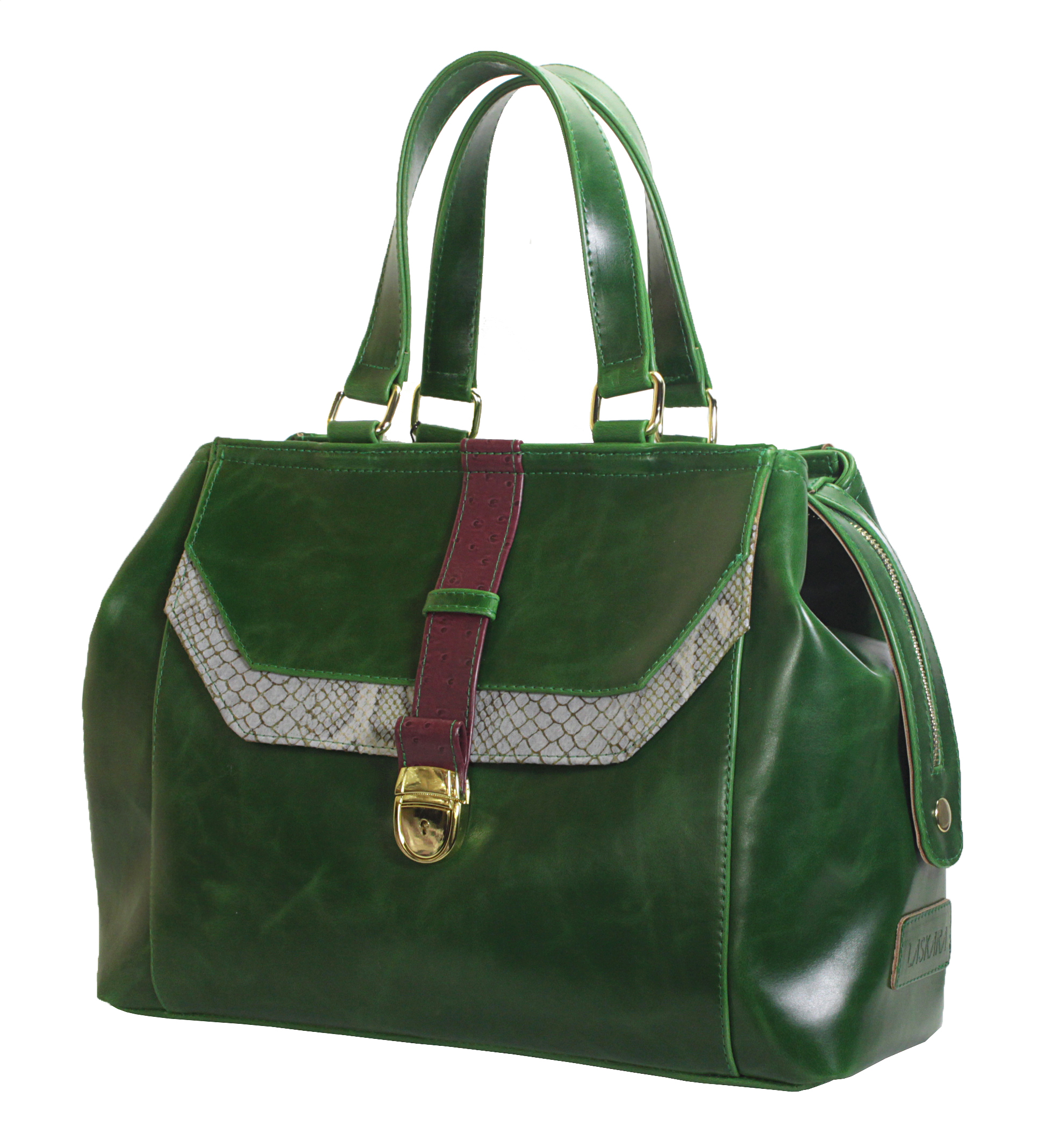 Atypická zelená kabelka 11-20287-green - boční pohled