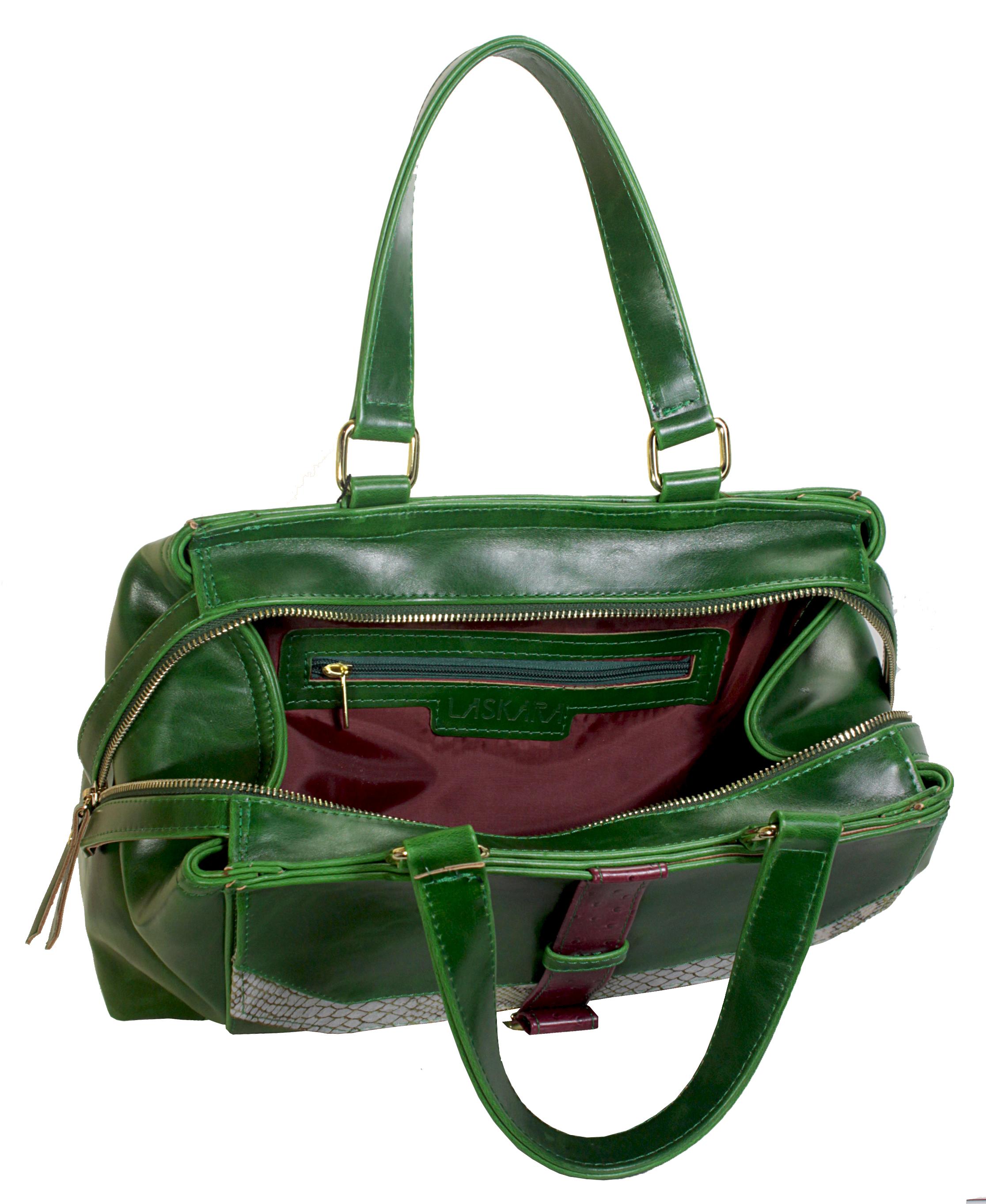 Atypická zelená kabelka 11-20287-green - vnitřní rozložení