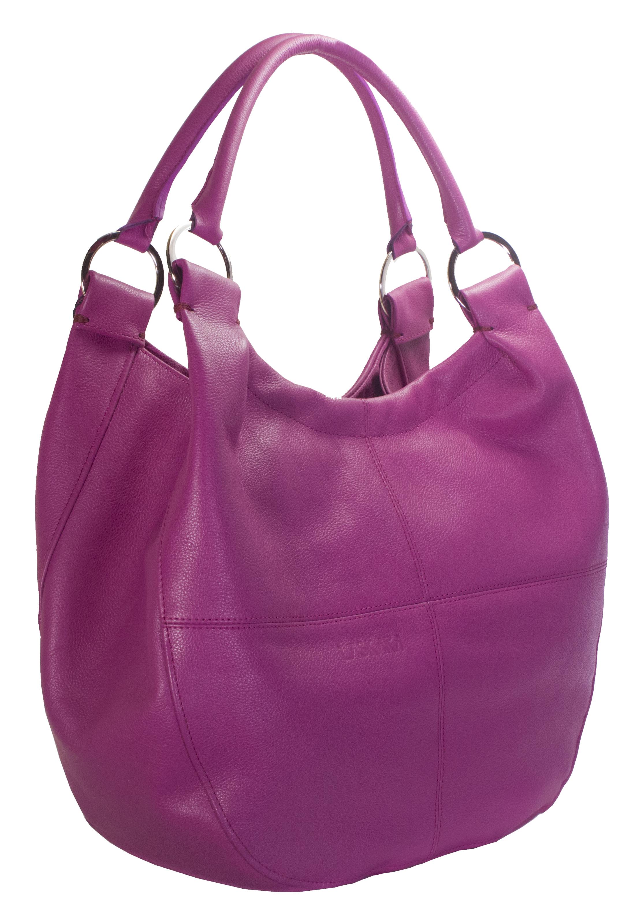 Kožená kabelka v malinové barvě 11-DS255-raspberry - boční pohled