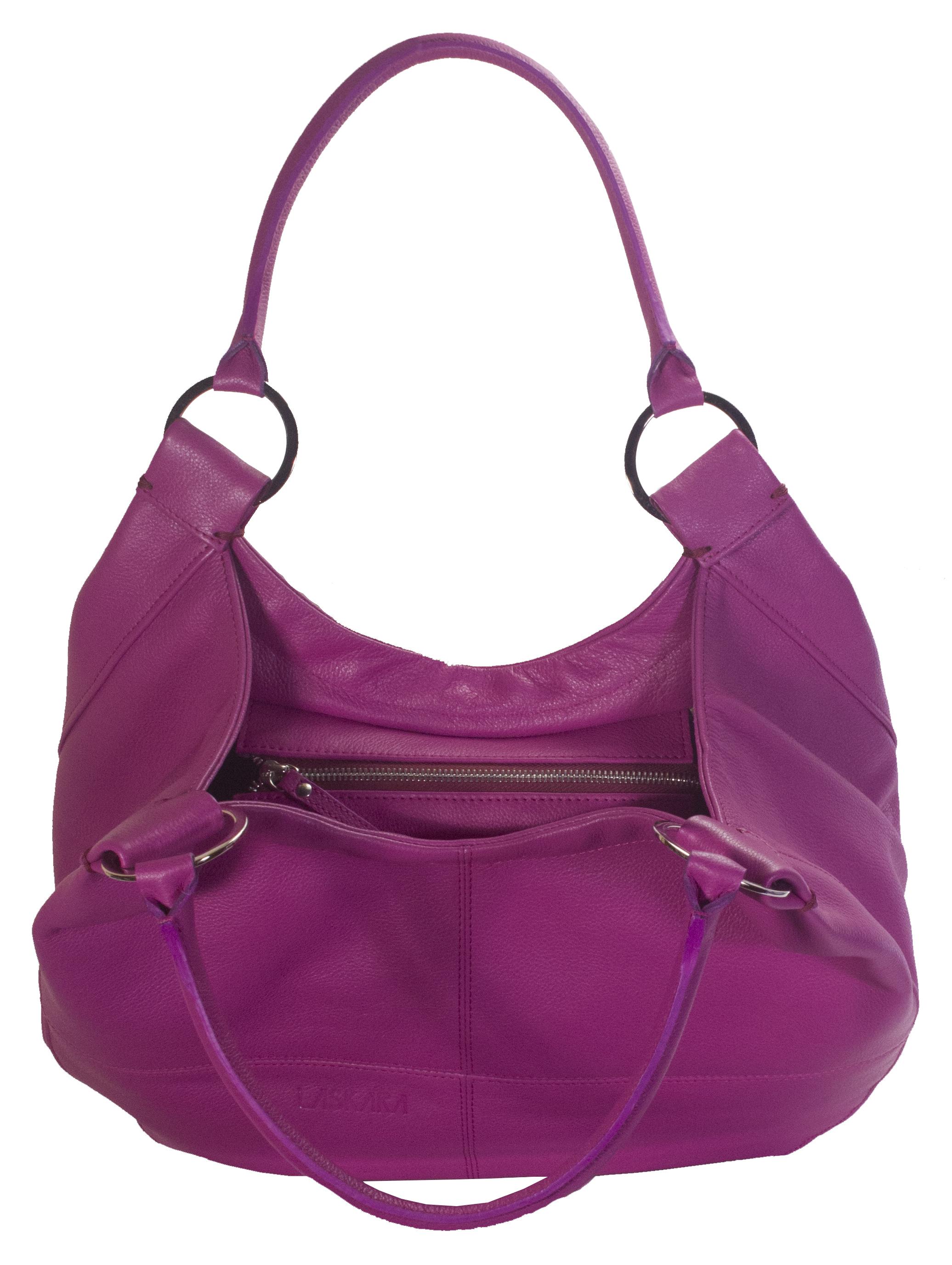 Kožená kabelka v malinové barvě 11-DS255-raspberry - horní pohled