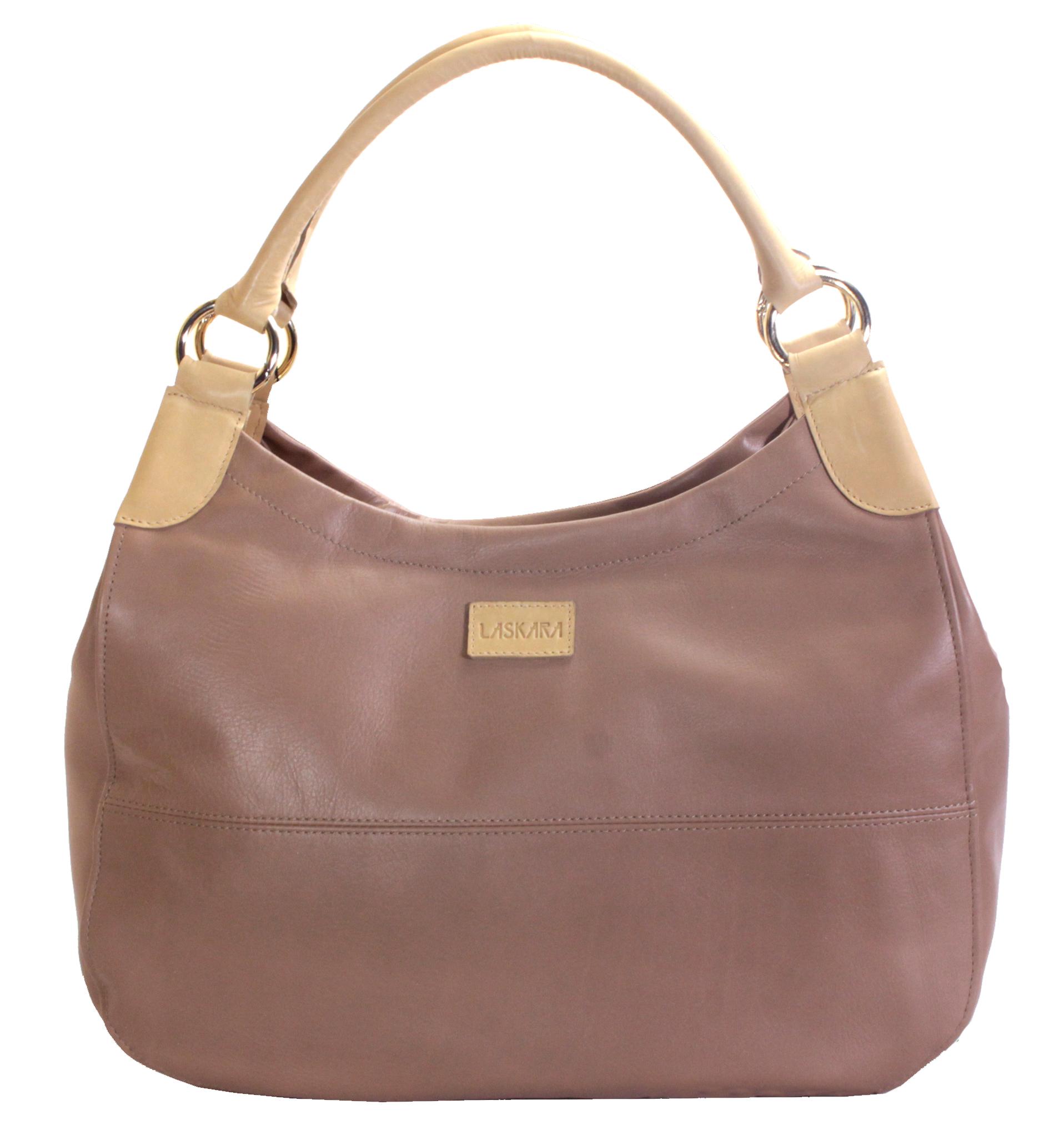 Hnědá kožená kabelka s béžovými detaily 11-DS260-lt.brown