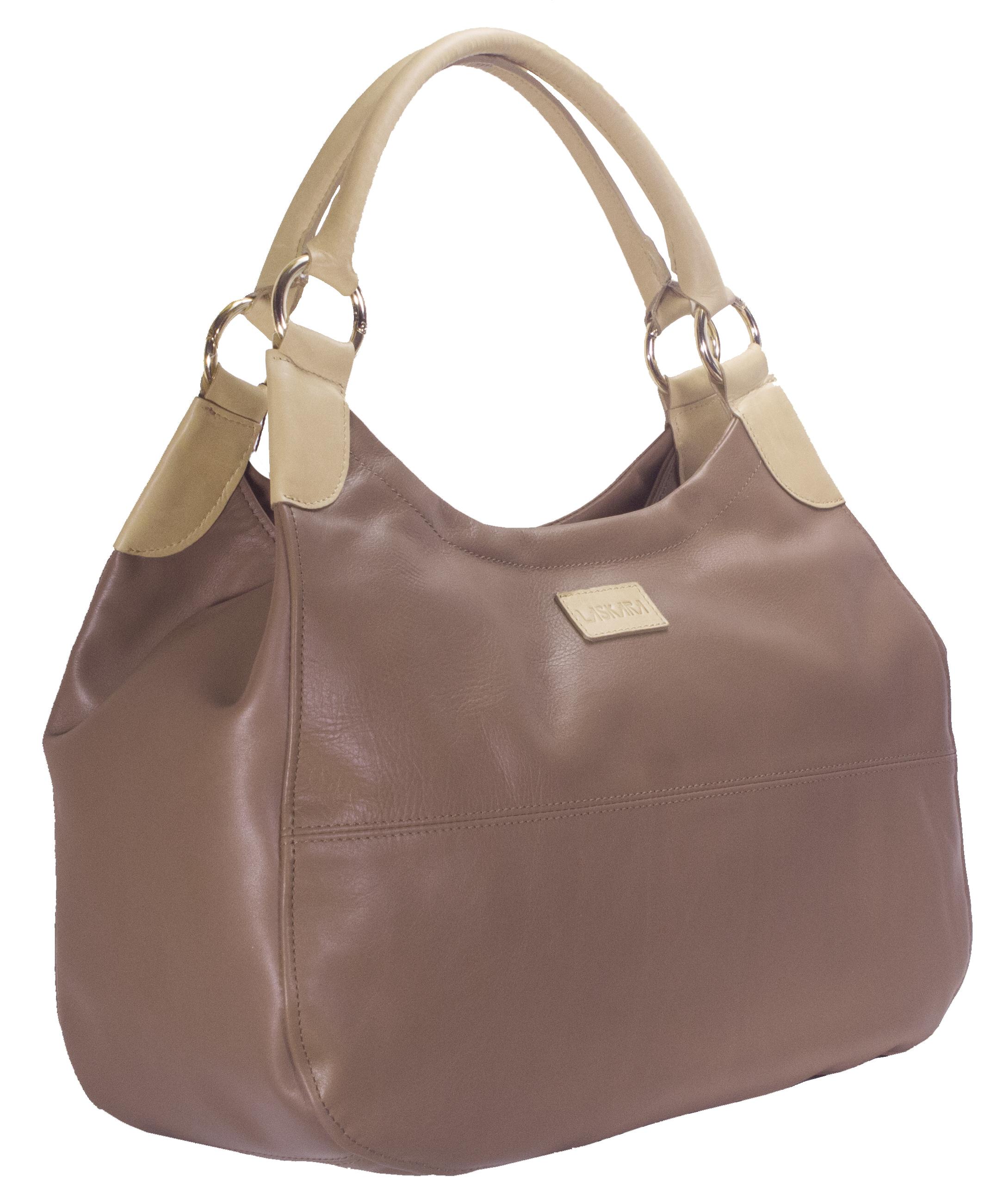Hnědá kožená kabelka s béžovými detaily 11-DS260-lt.brown - boční pohled