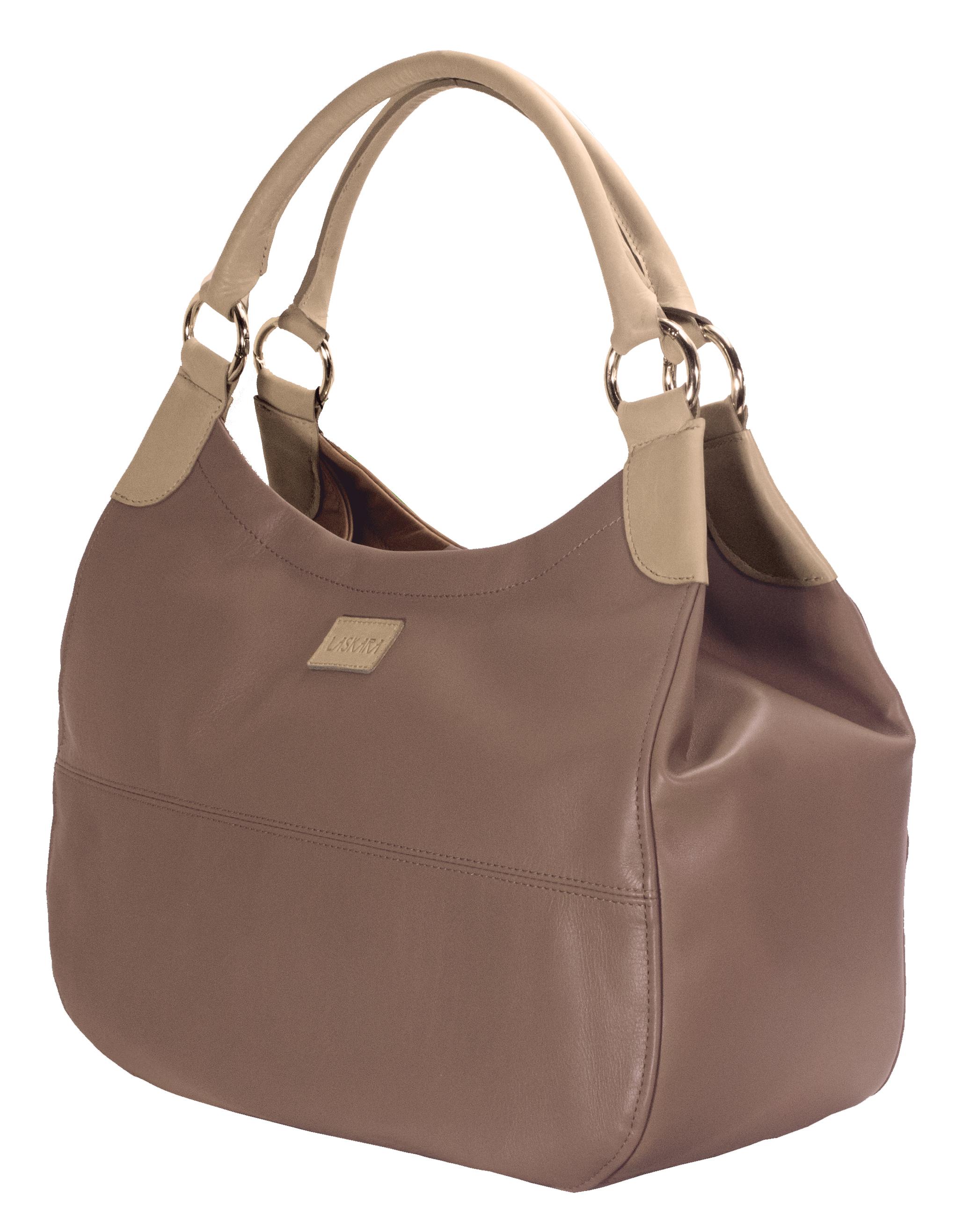 Hnědá kožená kabelka s béžovými detaily 11-DS260-lt.brown - boční pohled_