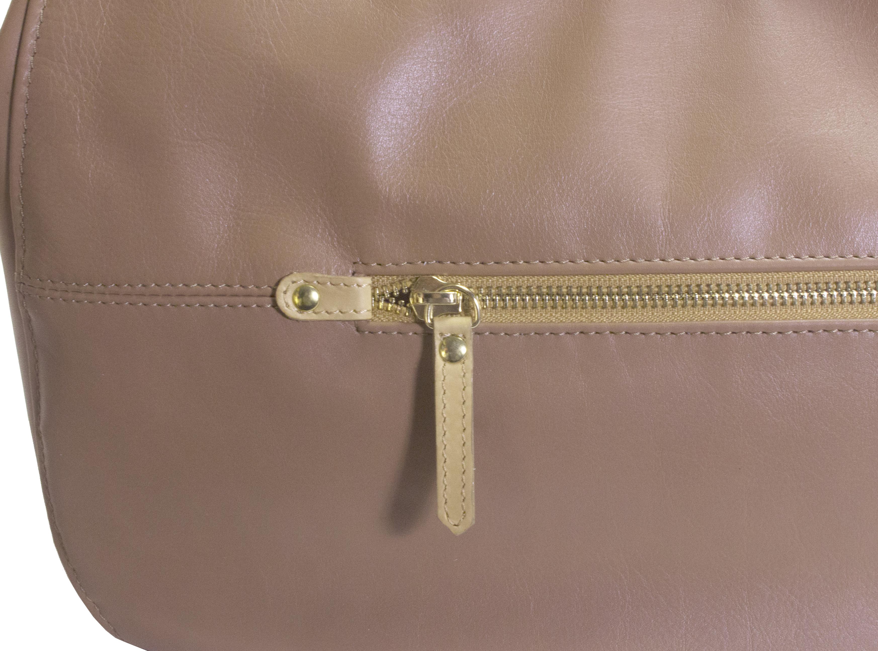 Hnědá kožená kabelka s béžovými detaily 11-DS260-lt.brown - zadní kapsa