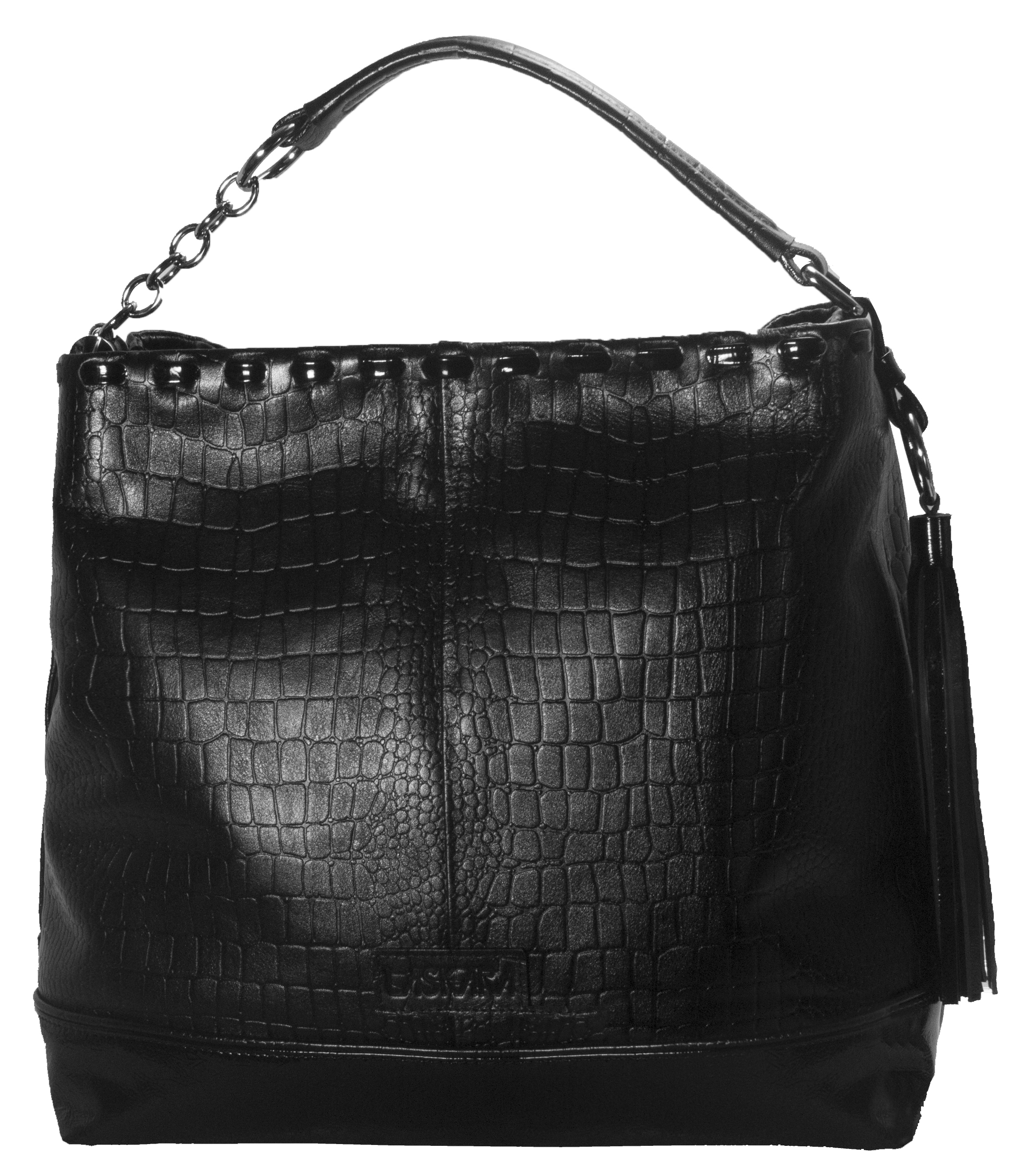Kožená kabelka s proplétaným horním krajem 11-DS261-croco-black