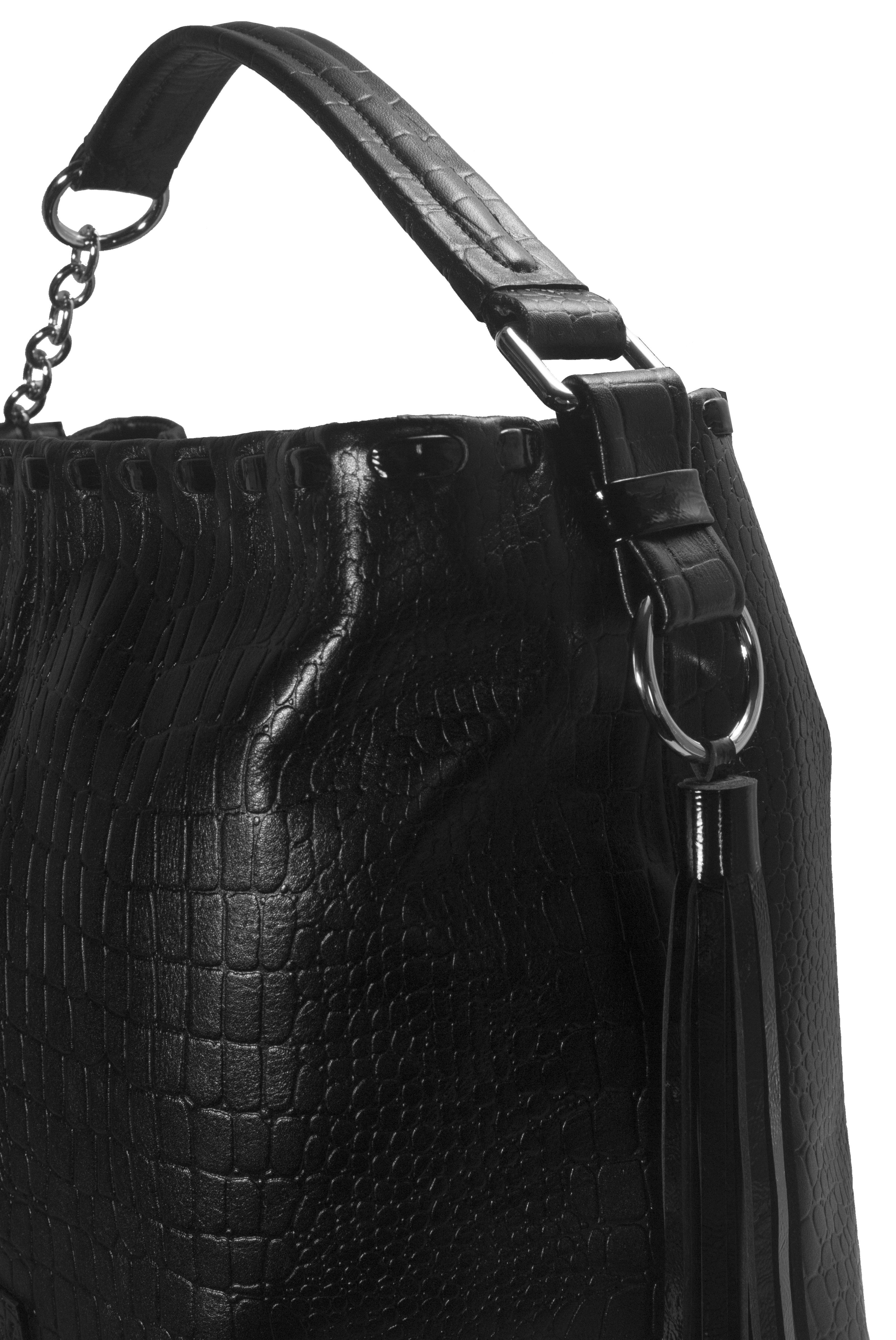 Kožená kabelka s proplétaným zdobením 11-DS261-croco-black - detail