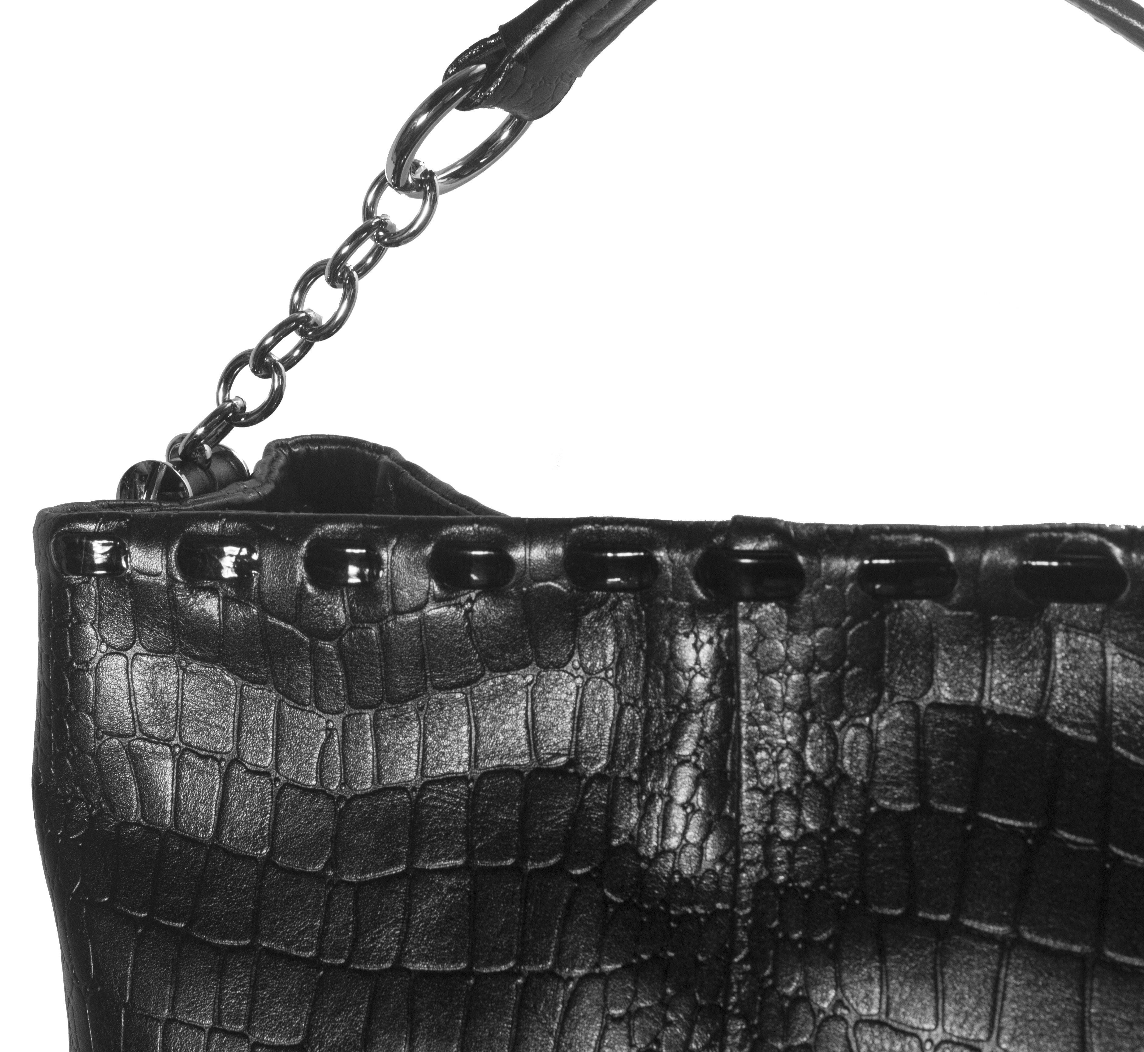 Kožená kabelka s proplétaným zdobením 11-DS261-croco-black - detail_