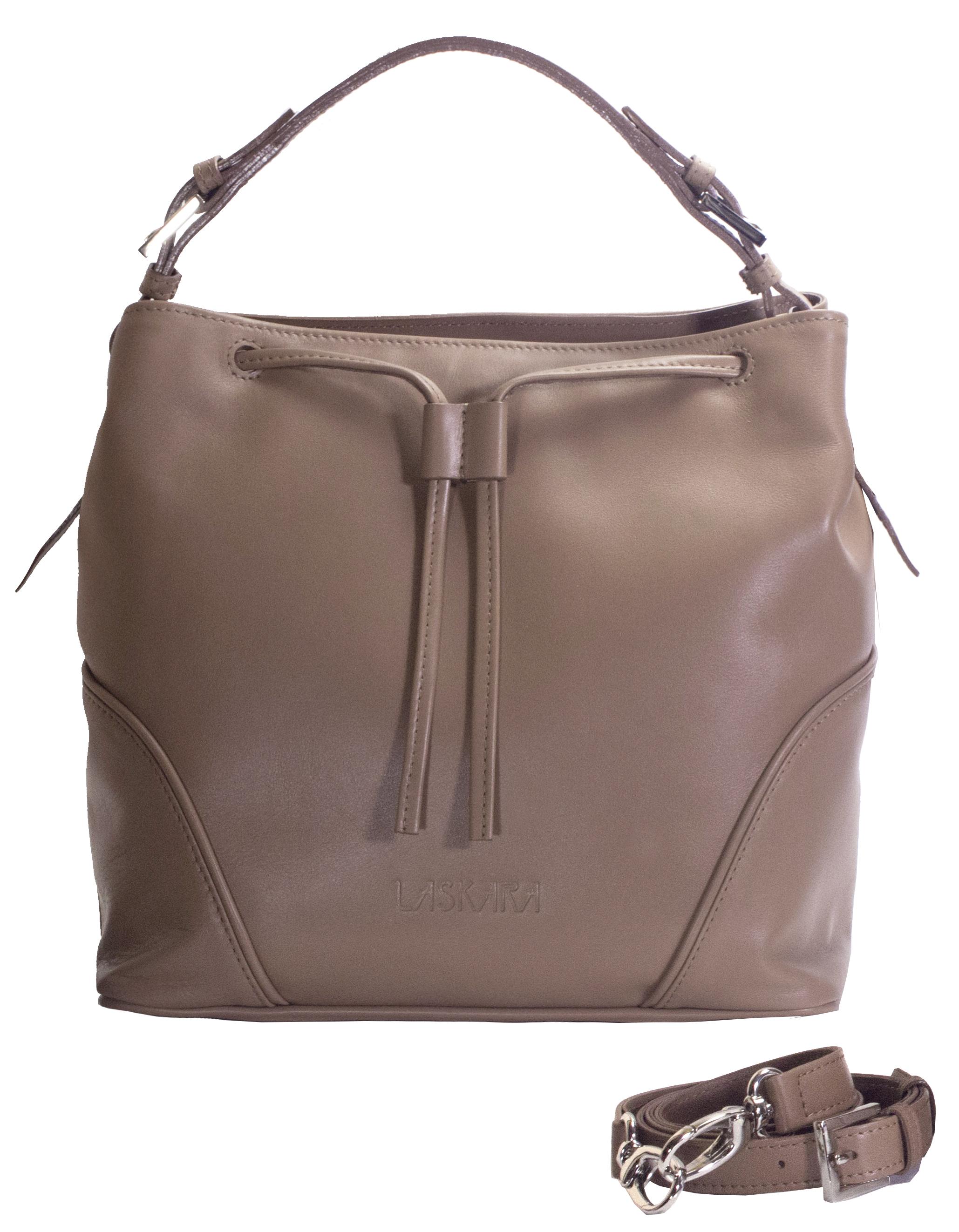 Hnědá kožená kabelka se zajímavým detailem 11-DS263-honey