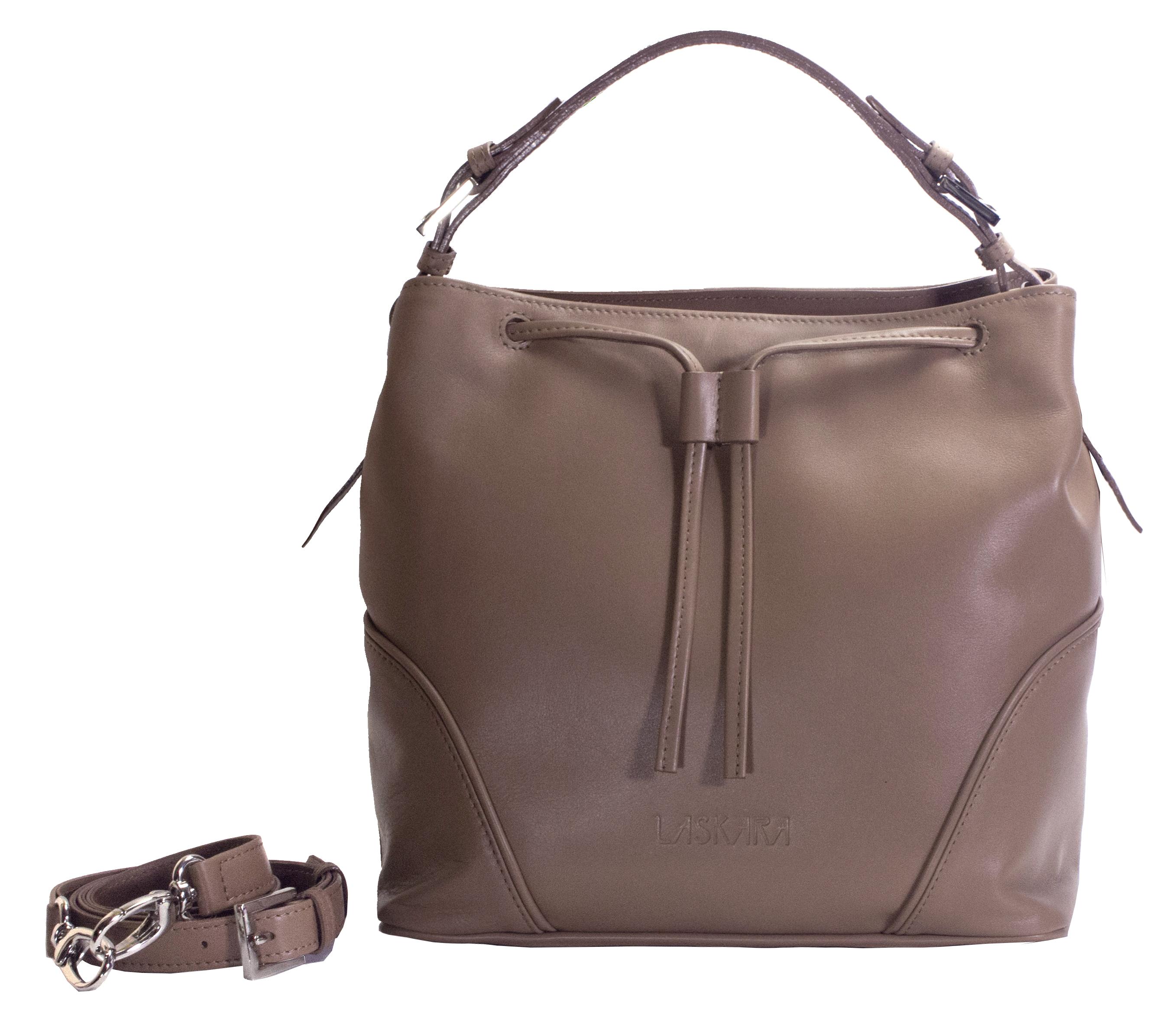 Hnědá kožená kabelka 11-DS263-honey - přední pohled