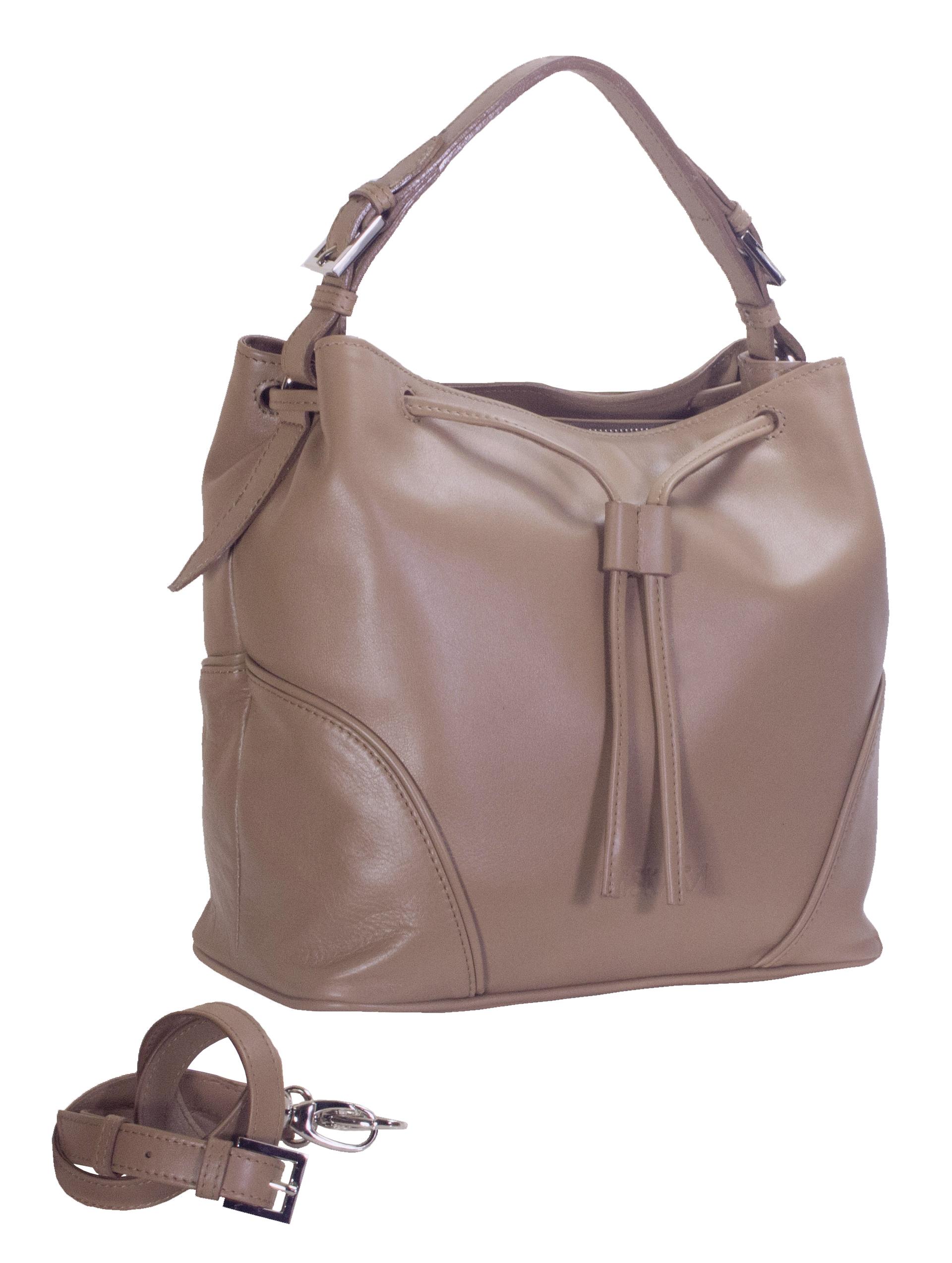 Hnědá kožená kabelka 11-DS263-honey - boční pohled