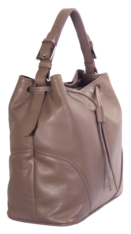 Hnědá kožená kabelka 11-DS263-honey - bok