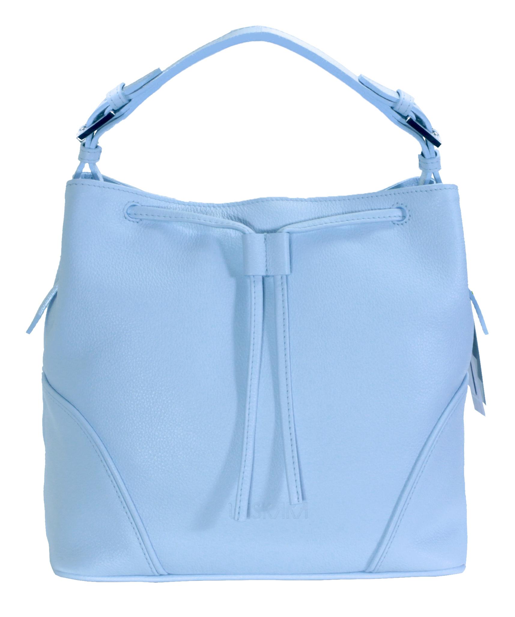 Blankytně modrá kožená kabelka se zajímavým detailem 11-DS263-sky-blue
