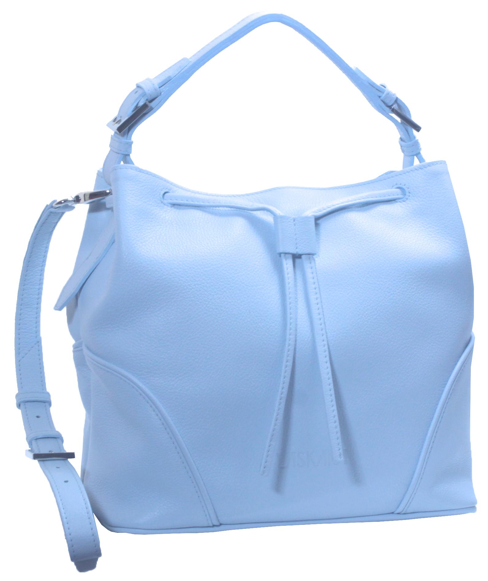 Blankytně modrá kožená kabelka 11-DS263-sky-blue - boční pohled