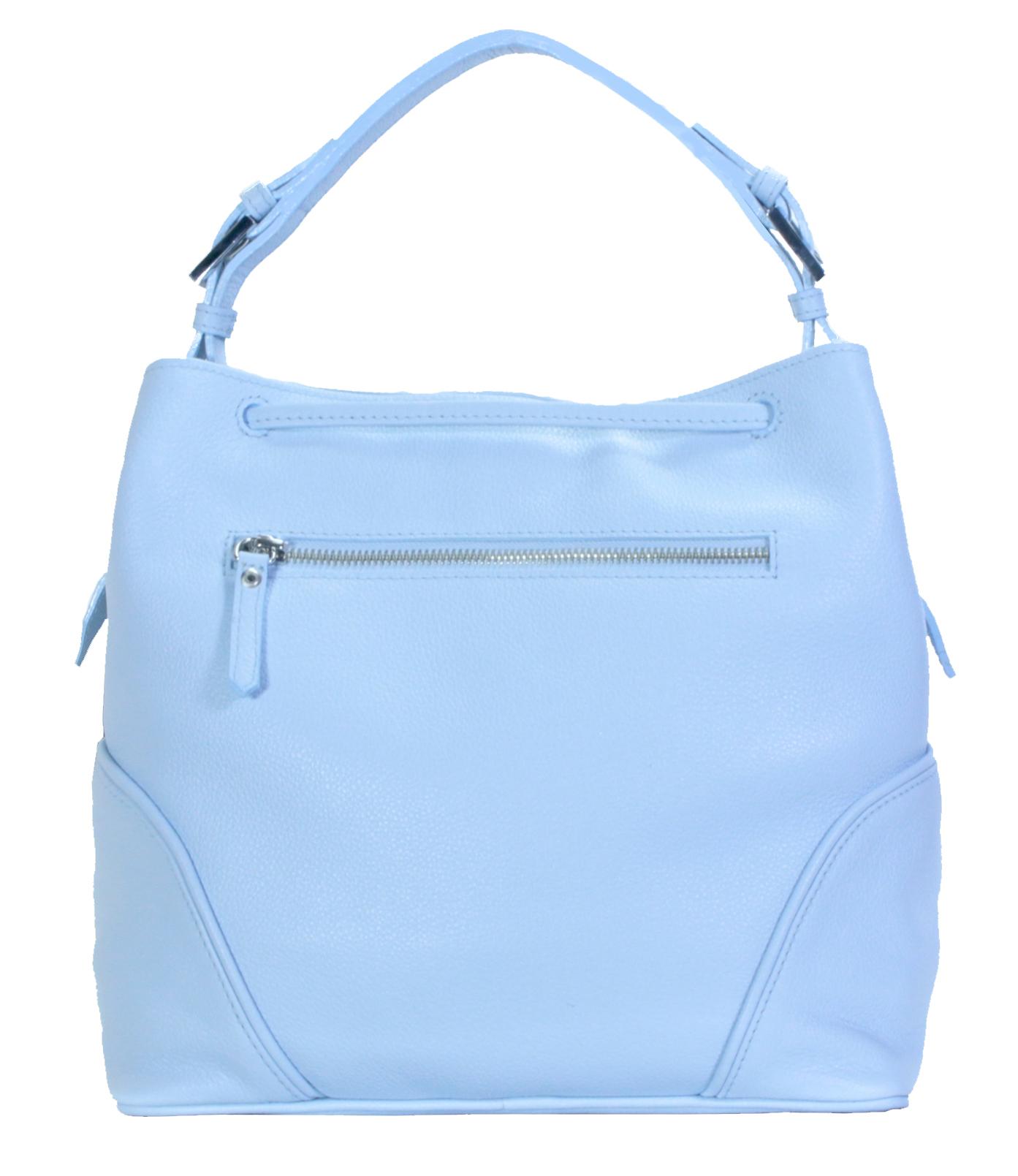 Blankytně modrá kožená kabelka 11-DS263-sky-blue - zadní pohled