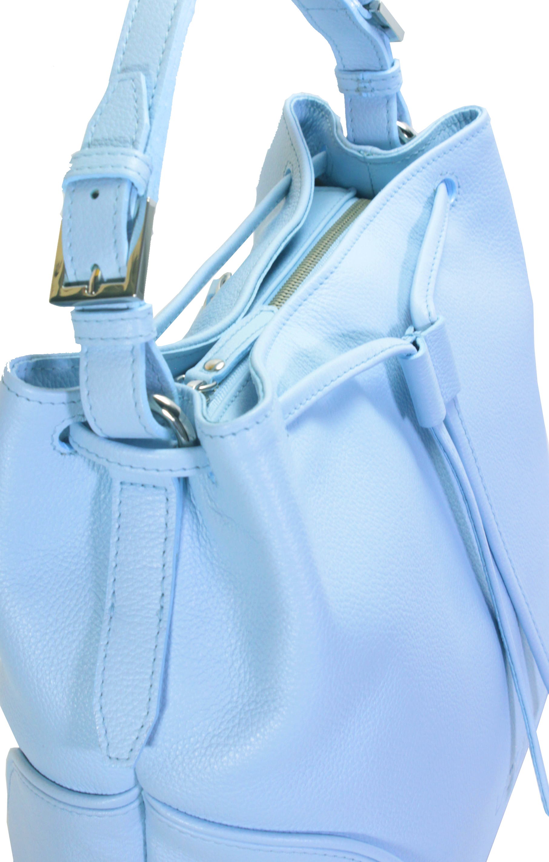 Blankytně modrá kožená kabelka 11-DS263-sky-blue - detail