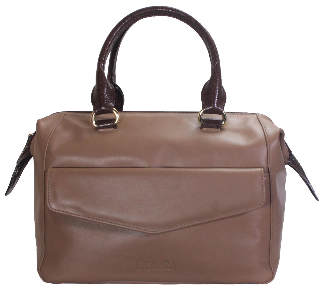 Hnědá kožená kabelka 11-DS265-lt.brown-choco