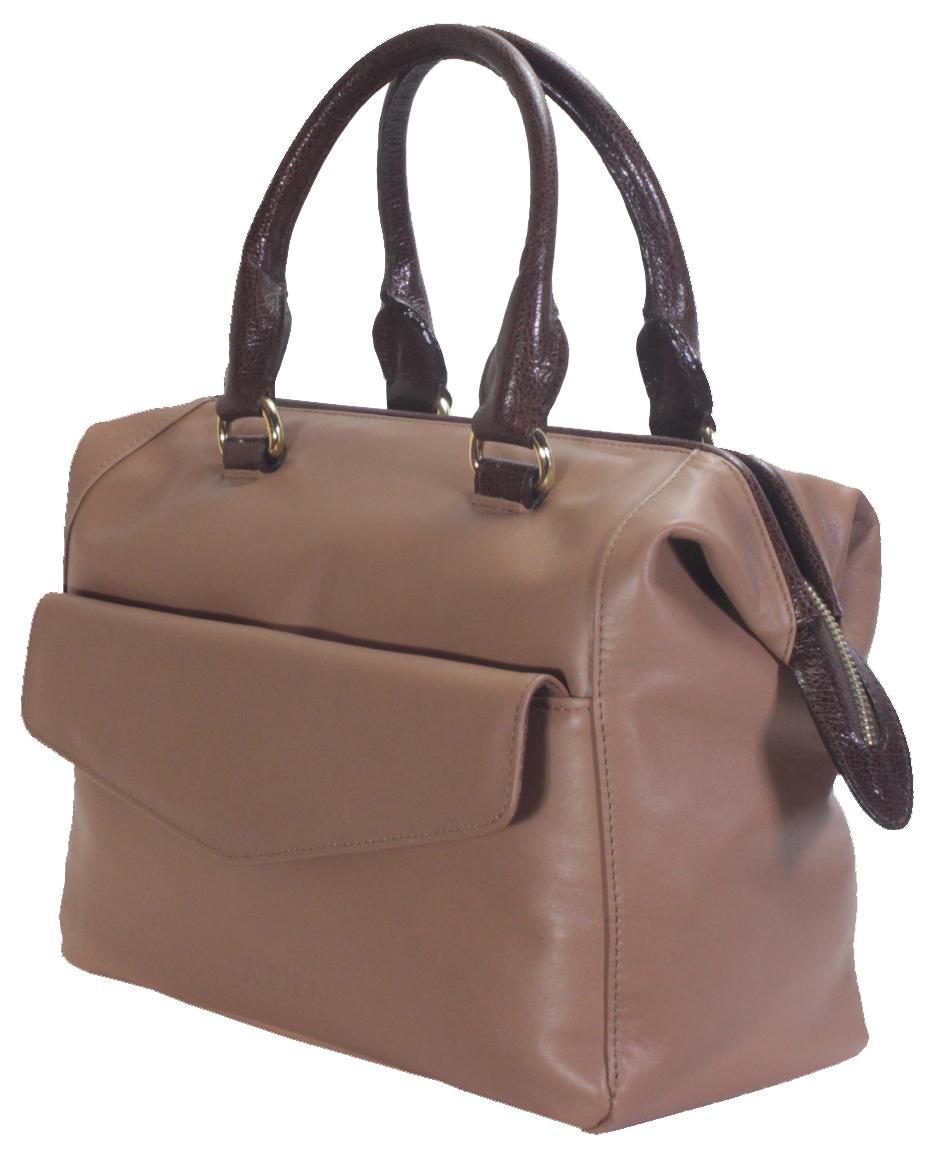 Hnědá kožená kabelka 11-DS265-lt.brown-choco - boční pohled