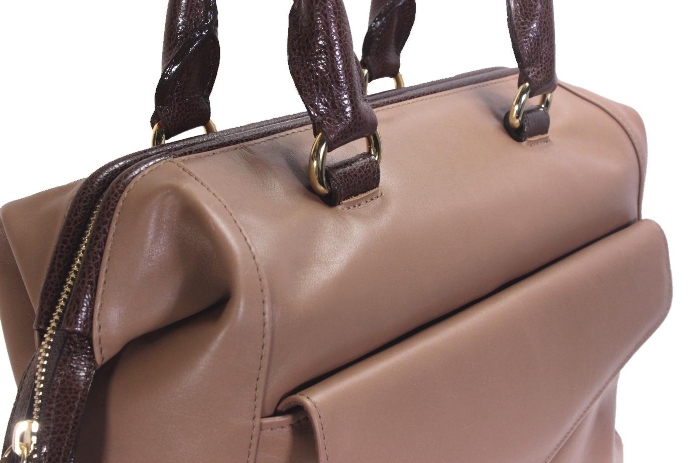 Hnědá kožená kabelka 11-DS265-lt.brown-choco - detail