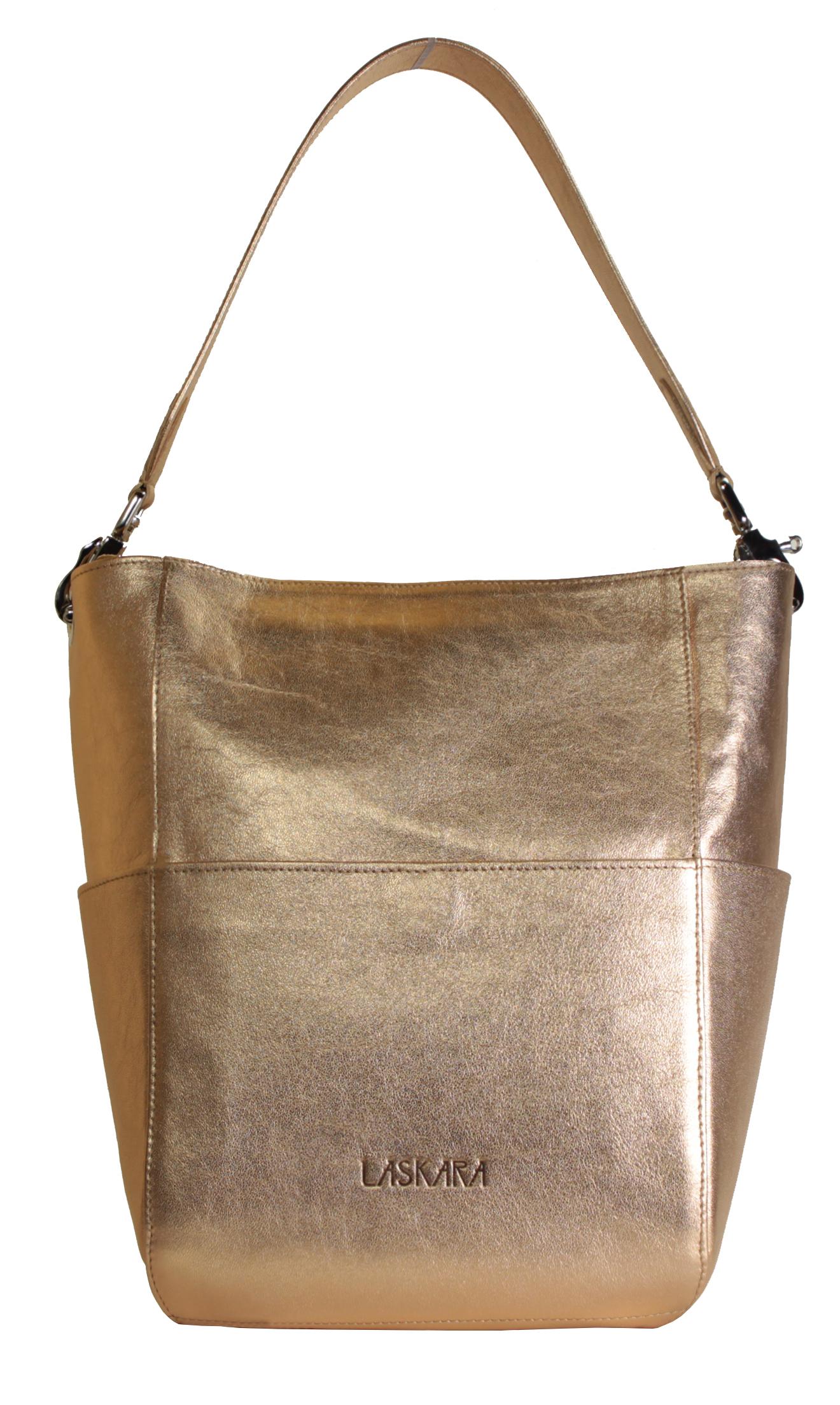 Kožená zlato-růžová kabelka 11-DS266-rose-gold