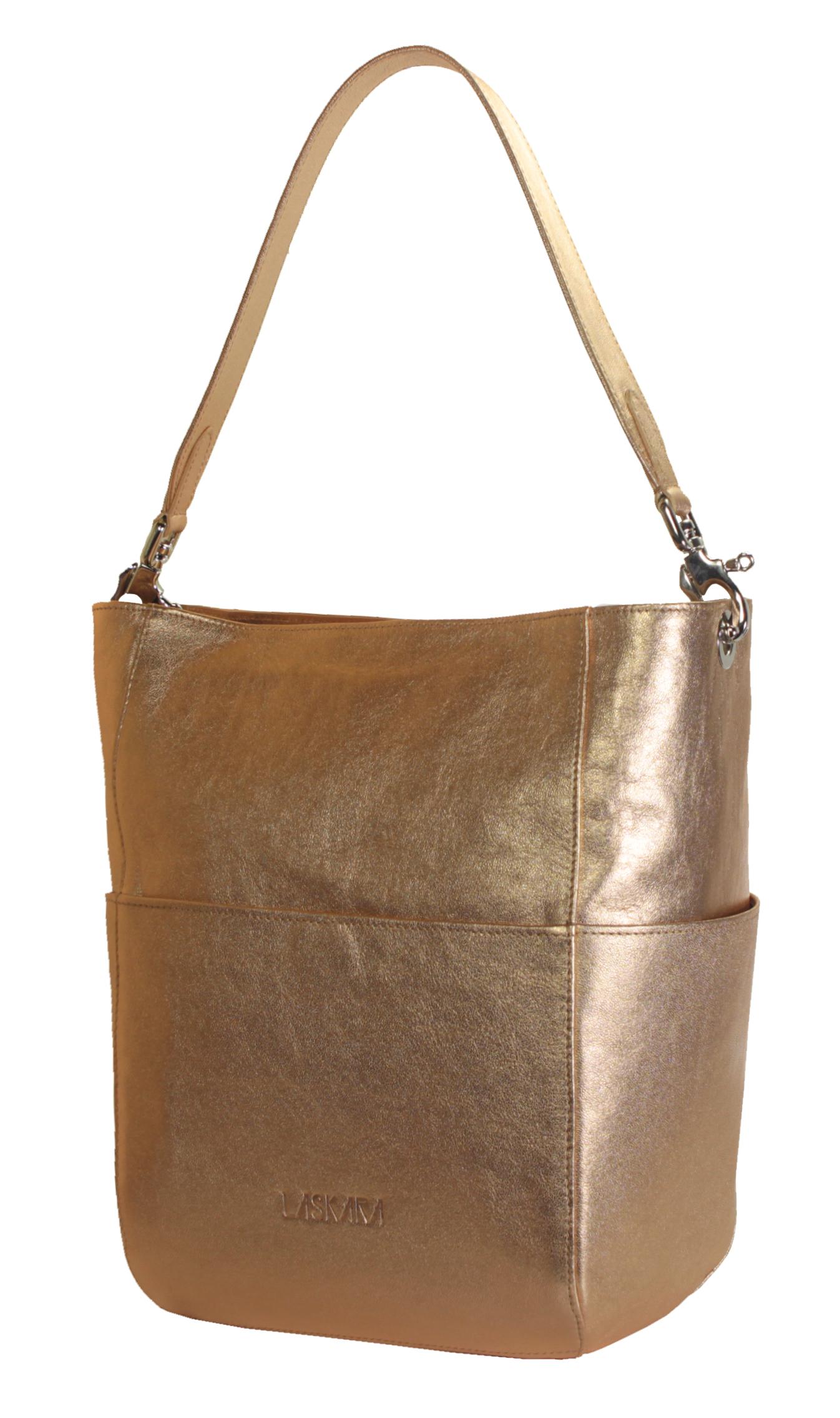 Kožená zlato-růžová kabelka 11-DS266-rose-gold - boční pohled