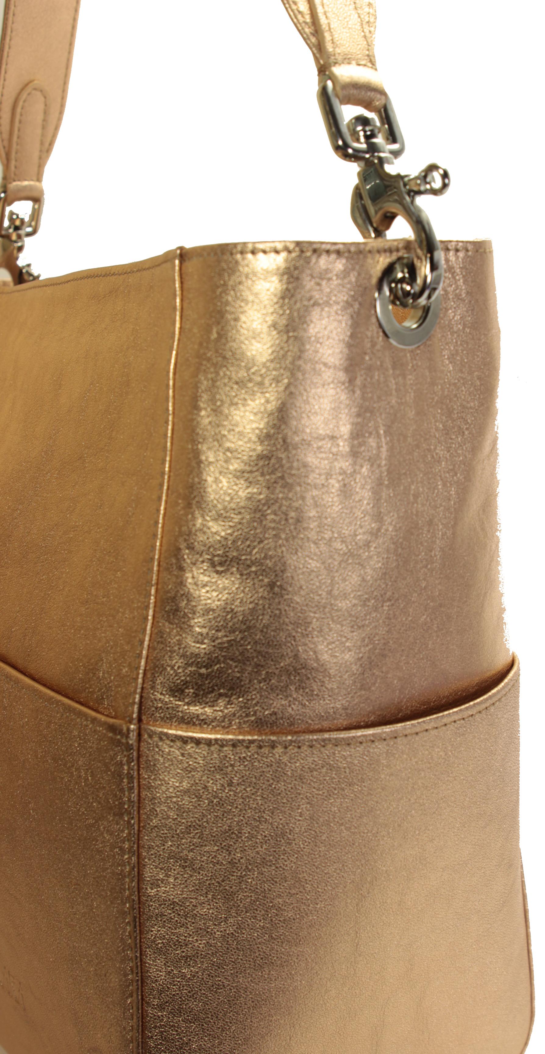 Kožená zlato-růžová kabelka 11-DS266-rose-gold - detail