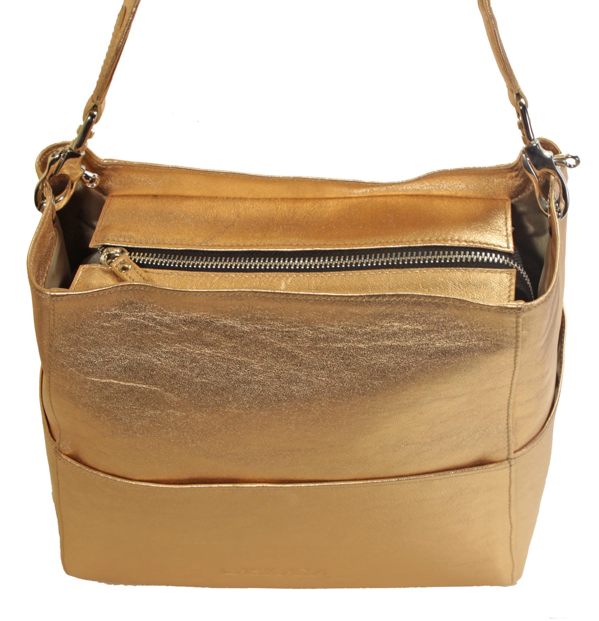 Kožená zlato-růžová kabelka 11-DS266-rose-gold - horní pohled