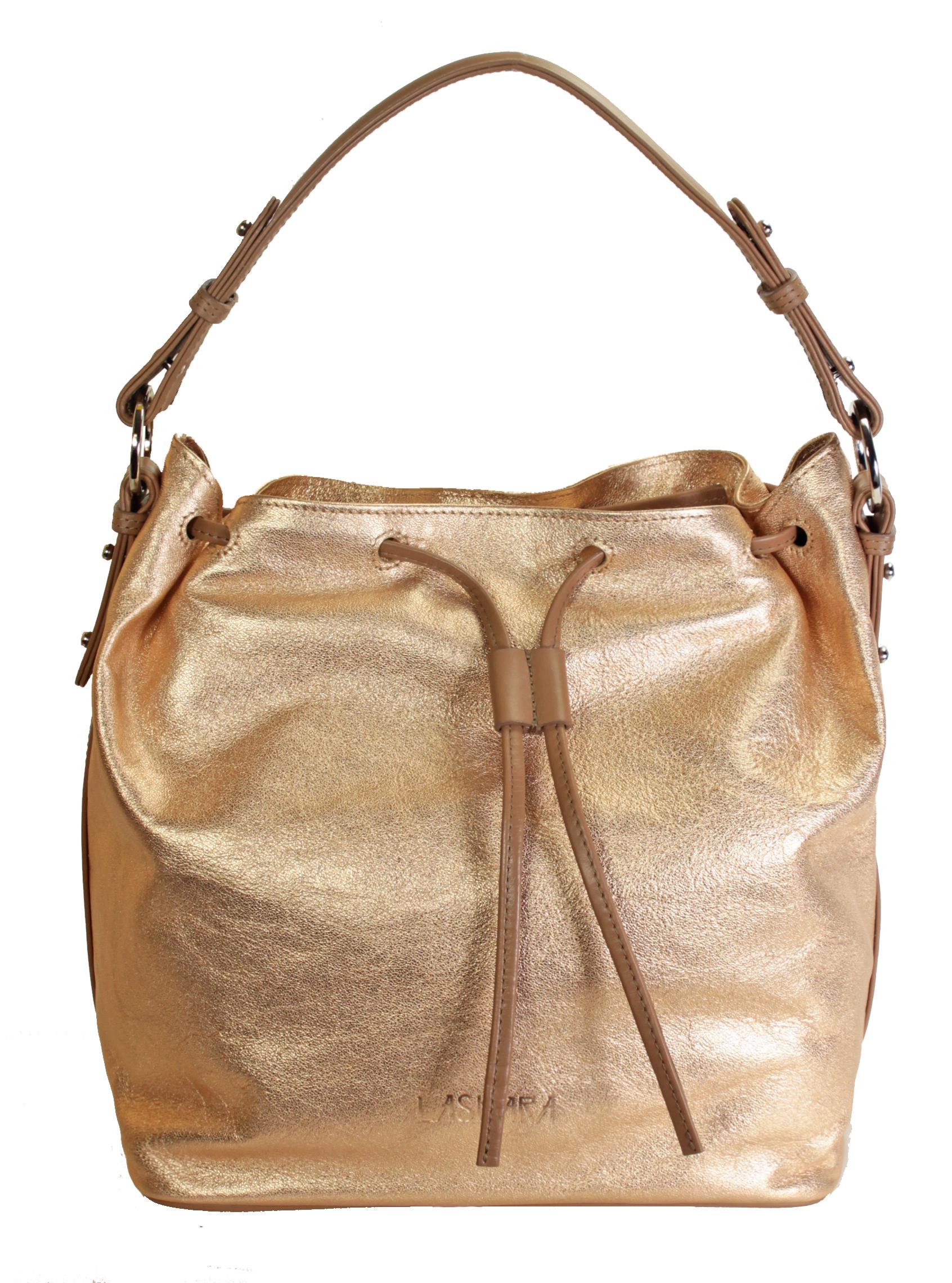 Zlato-růžová kožená kabelka se zajímavým detailem 11-DS272-rose-gold