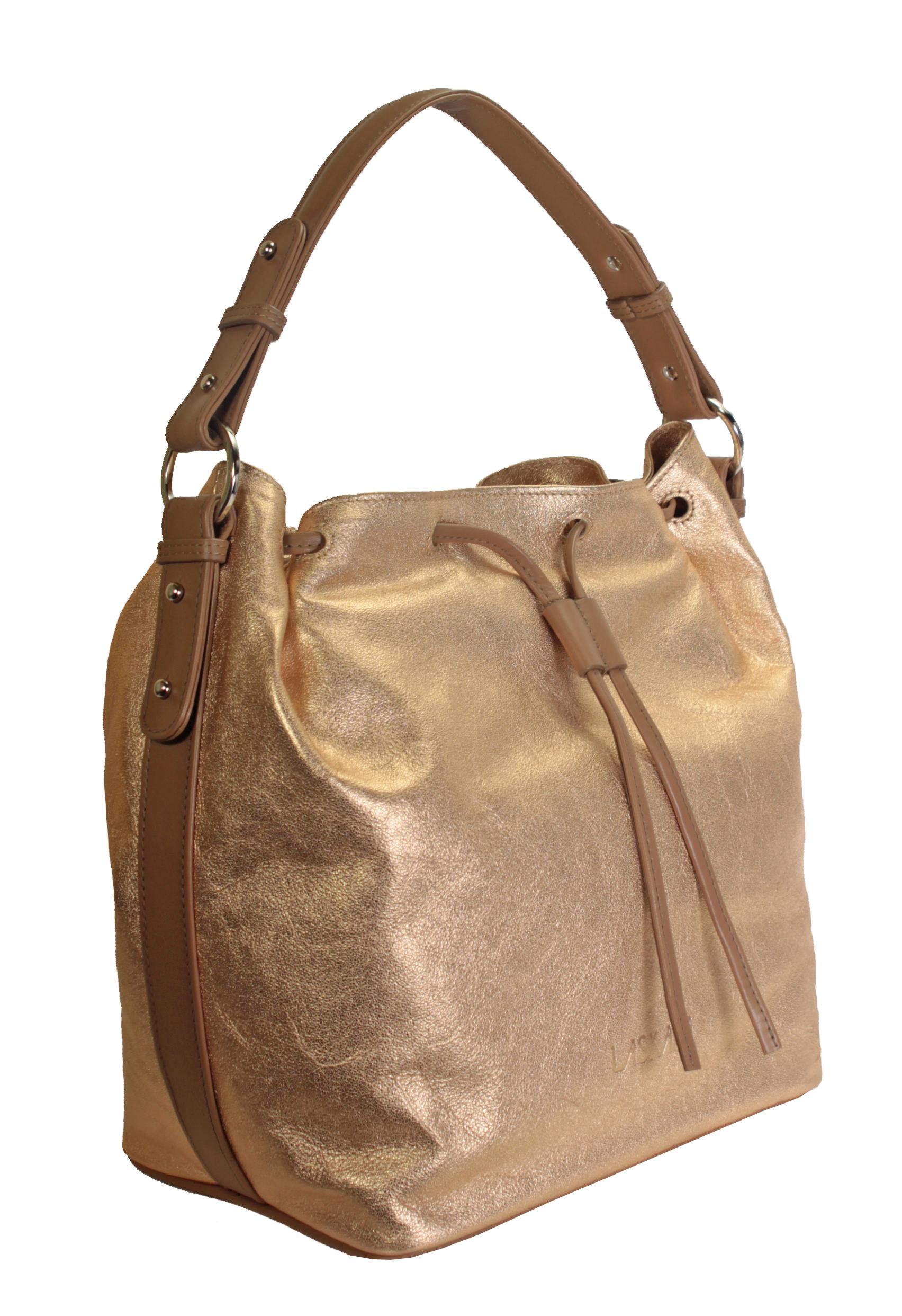 Zlato-růžová kožená kabelka 11-DS272-rose-gold - boční pohled