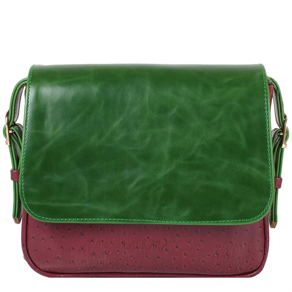 Švestkovo-zelená crossbody kabelka LK-10245-green-plum