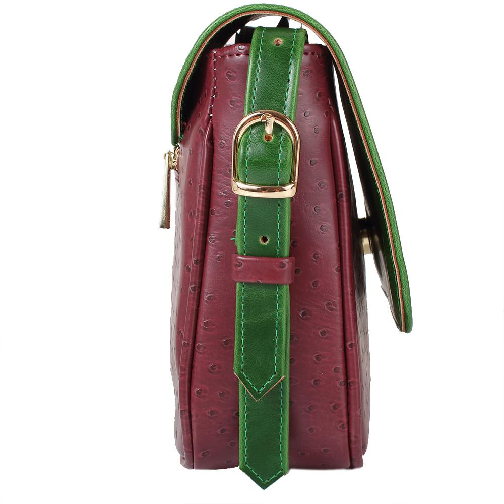 Švestkovo-zelená crossbody kabelka  LK-10245-green-plum - bok