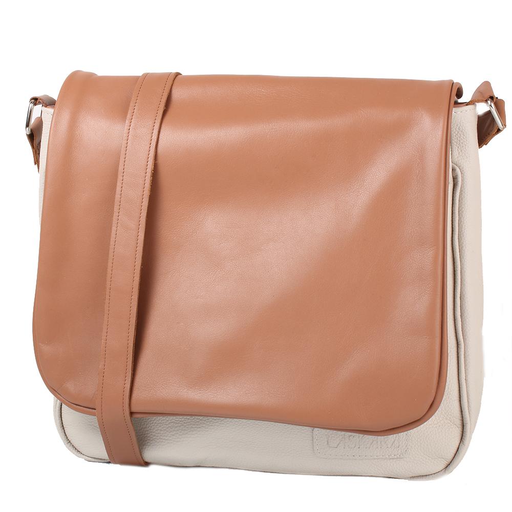 Béžovo-hnědá kožená taška 11-DB278-beige-honey