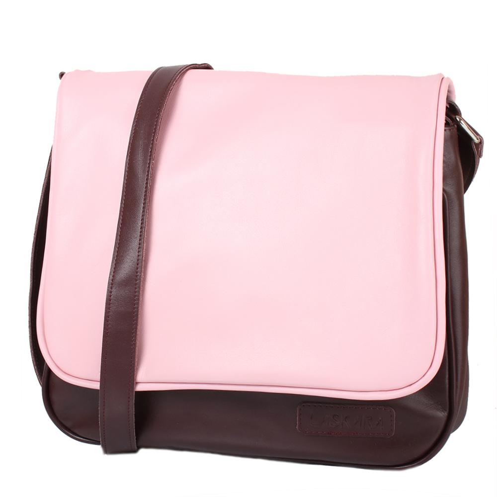 Vínovo-růžová kožená kabelka 11-DB278-bordeaux-pink