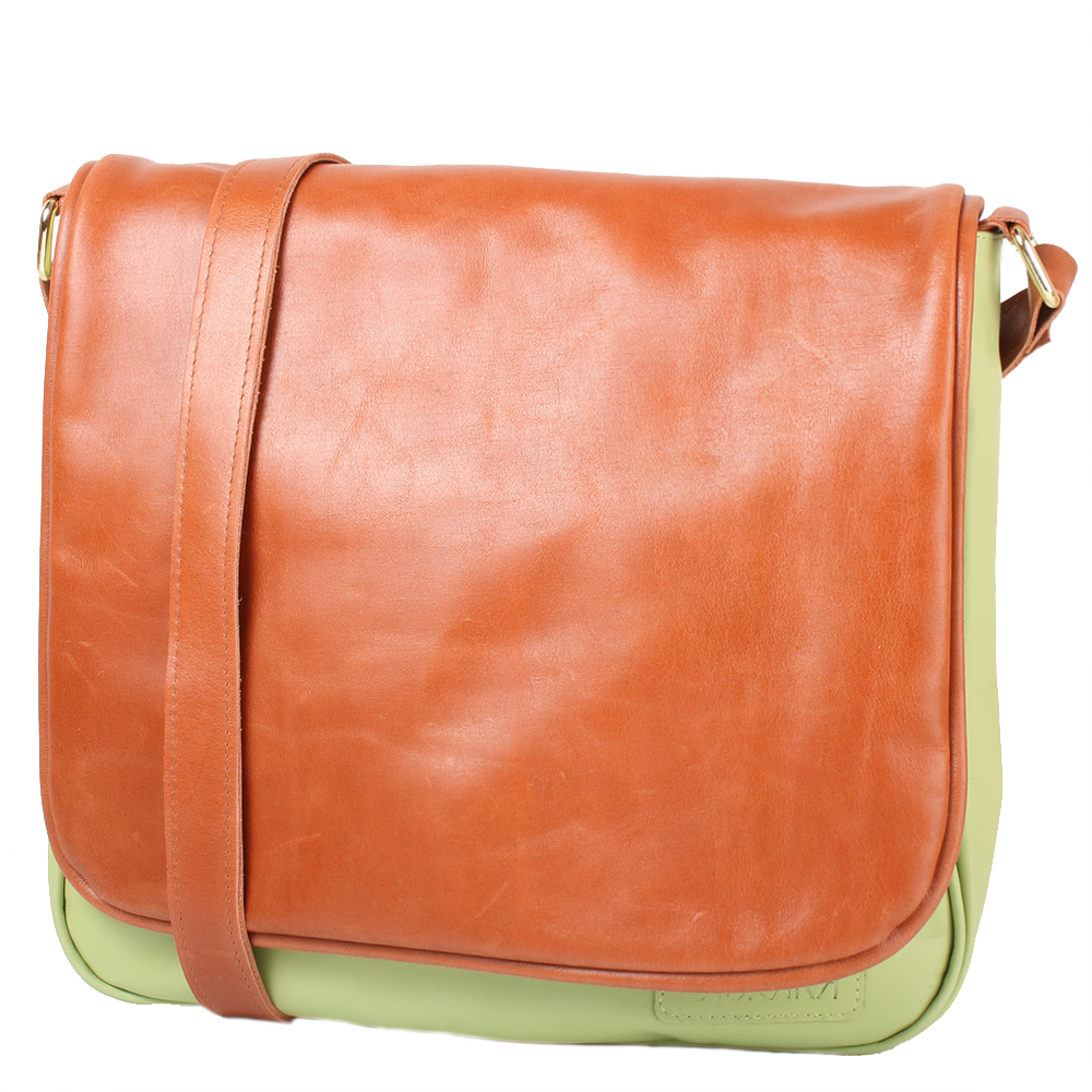 Hnědo-zelená kožená taška 11-DB278-pistachio-honey