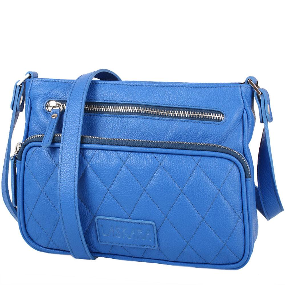Kožená crossbody kabelka modrá 11-DS256-blue
