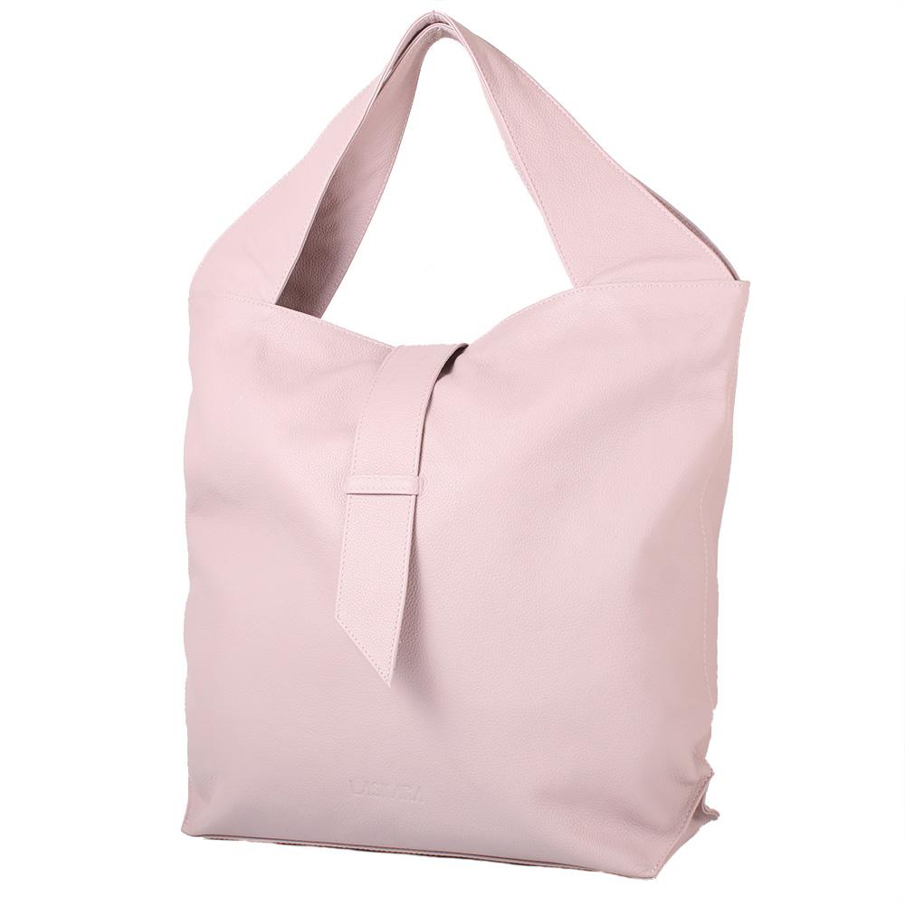 Kožená kabelka v pudrové barvě 11-DS258-rose