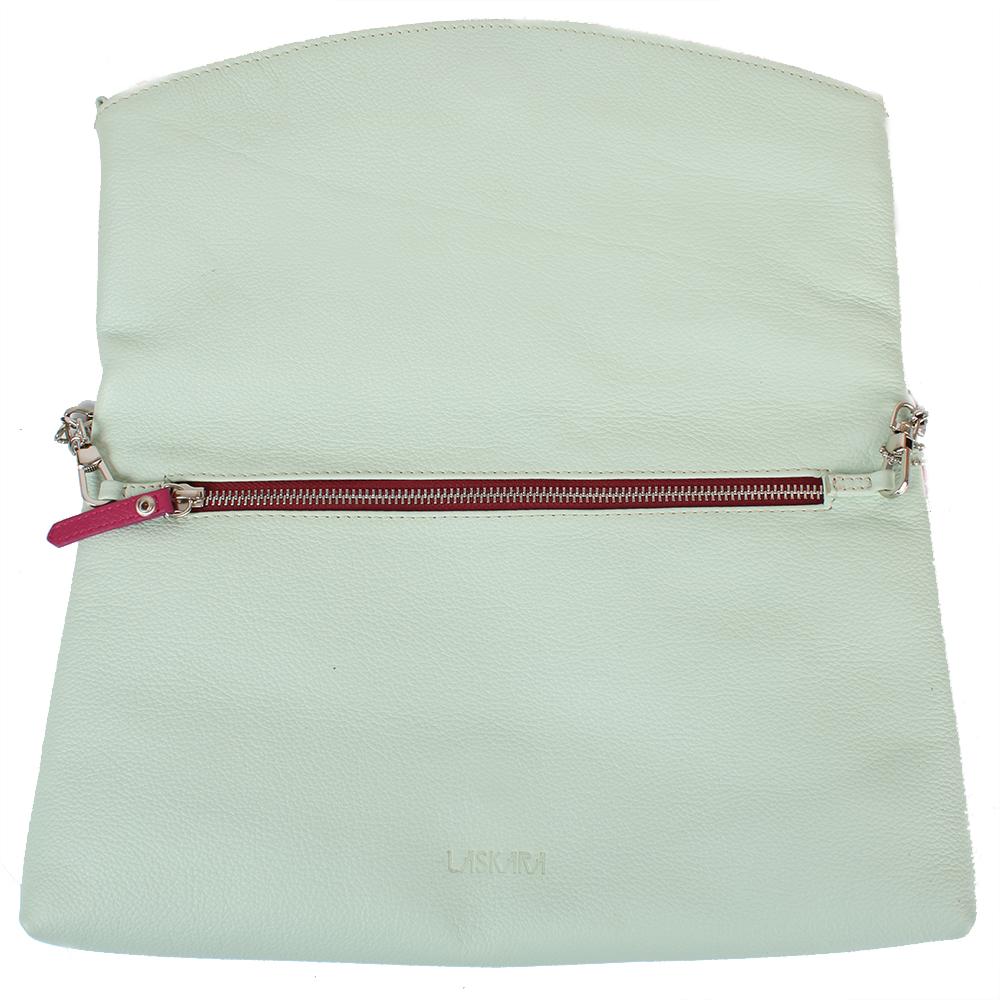 Kožené psaníčko v pistáciové barvě 11-DS259-pistachio - vnitřní pohled