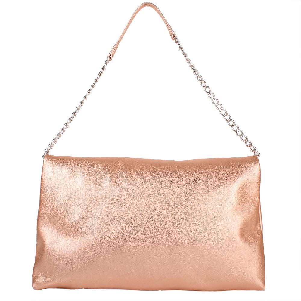 Kožené psaníčko ve zlato-růžové barvě 11-DS259-rose-gold - zadní strana