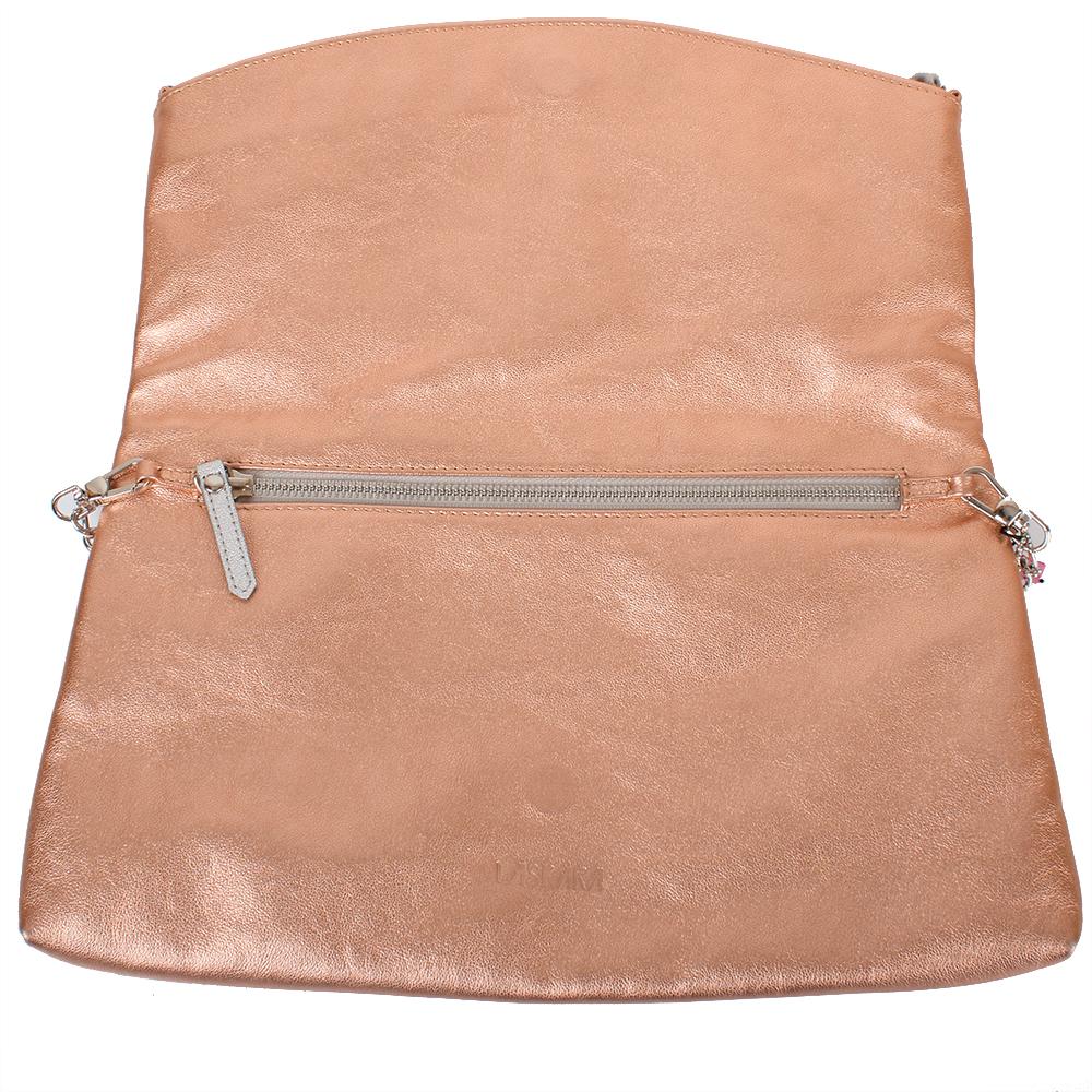 Kožené psaníčko ve zlato-růžové barvě 11-DS259-rose-gold - vnitřní pohled