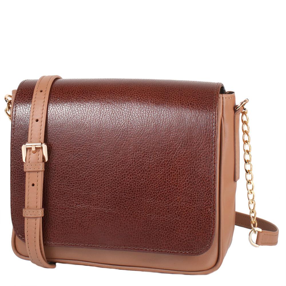 Kožená crossbody kabelka hnědá 11-DS262-brown-choco