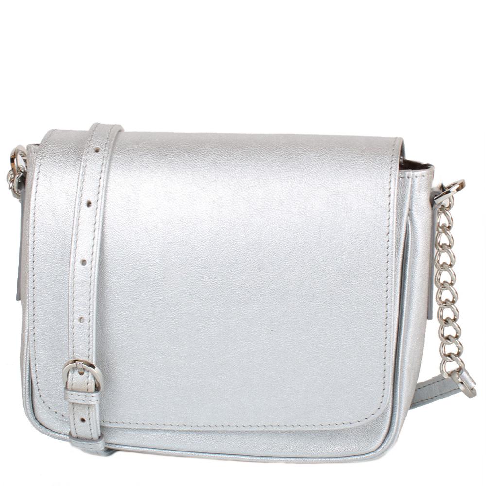 Kožená crossbody kabelka stříbrná 11-DS262-silver