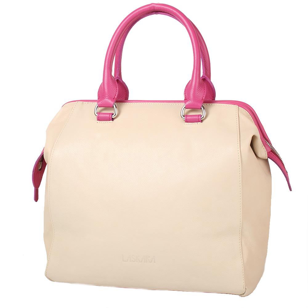 Béžovo-růžová kožená kabelka 11-DS264-beige-raspbery