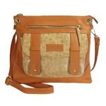 Tmavě béžová crossbody kabelka se zvířecím motivem 11-10238-cognac-croco-beige
